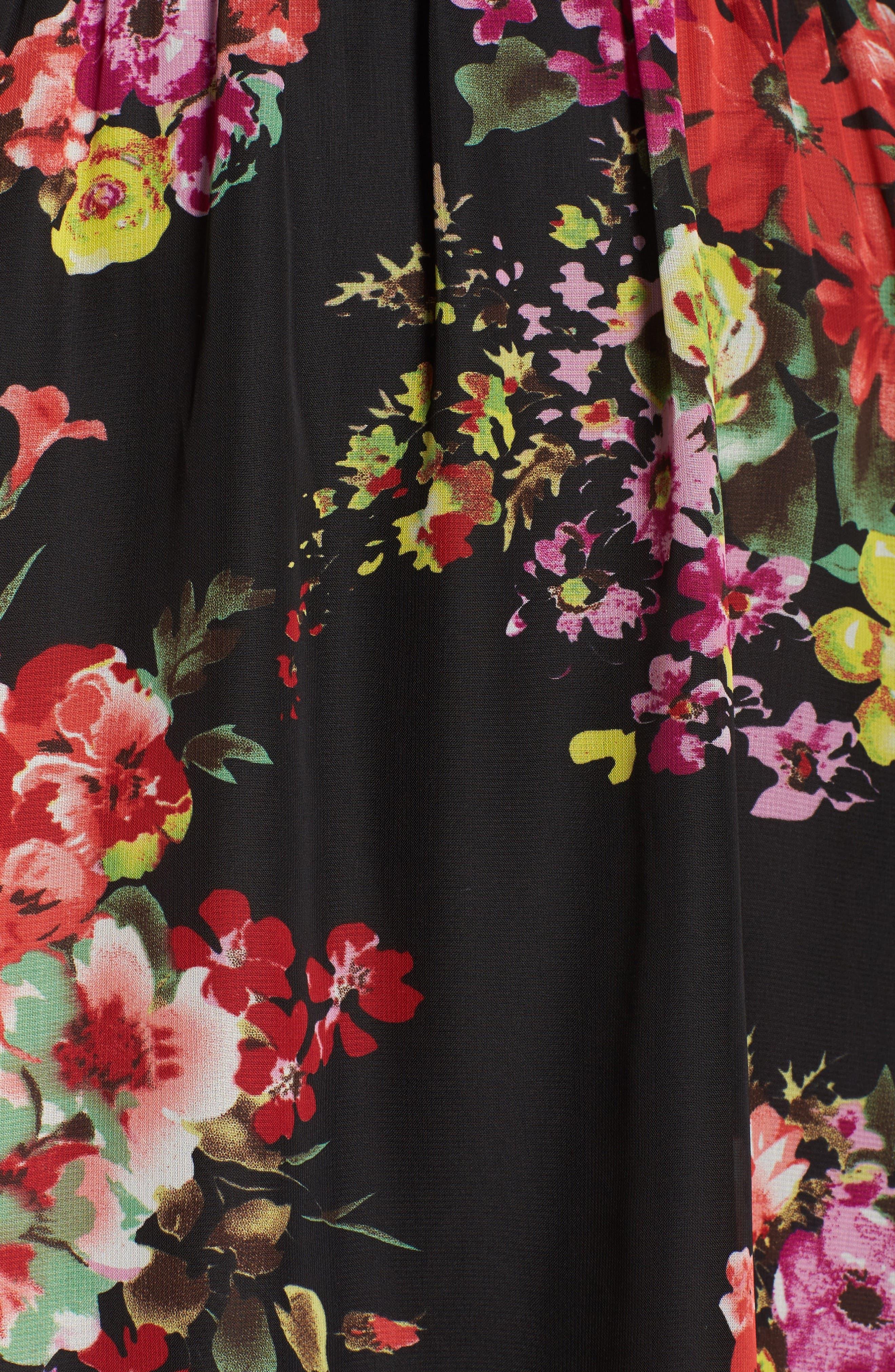 Floral Chiffon A-Line Dress,                             Alternate thumbnail 6, color,                             001