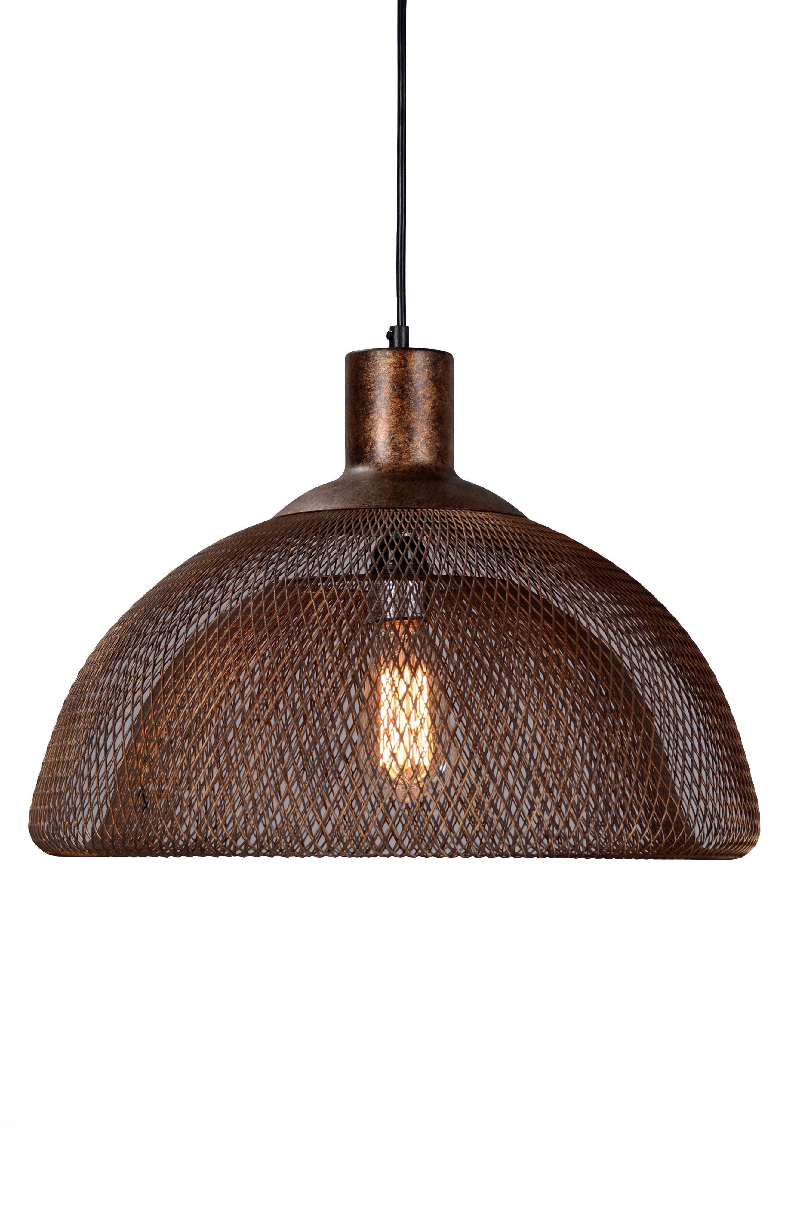 Classic Home Nova Copper Finish Mesh Shade Pendant Lamp Size Large  Brown