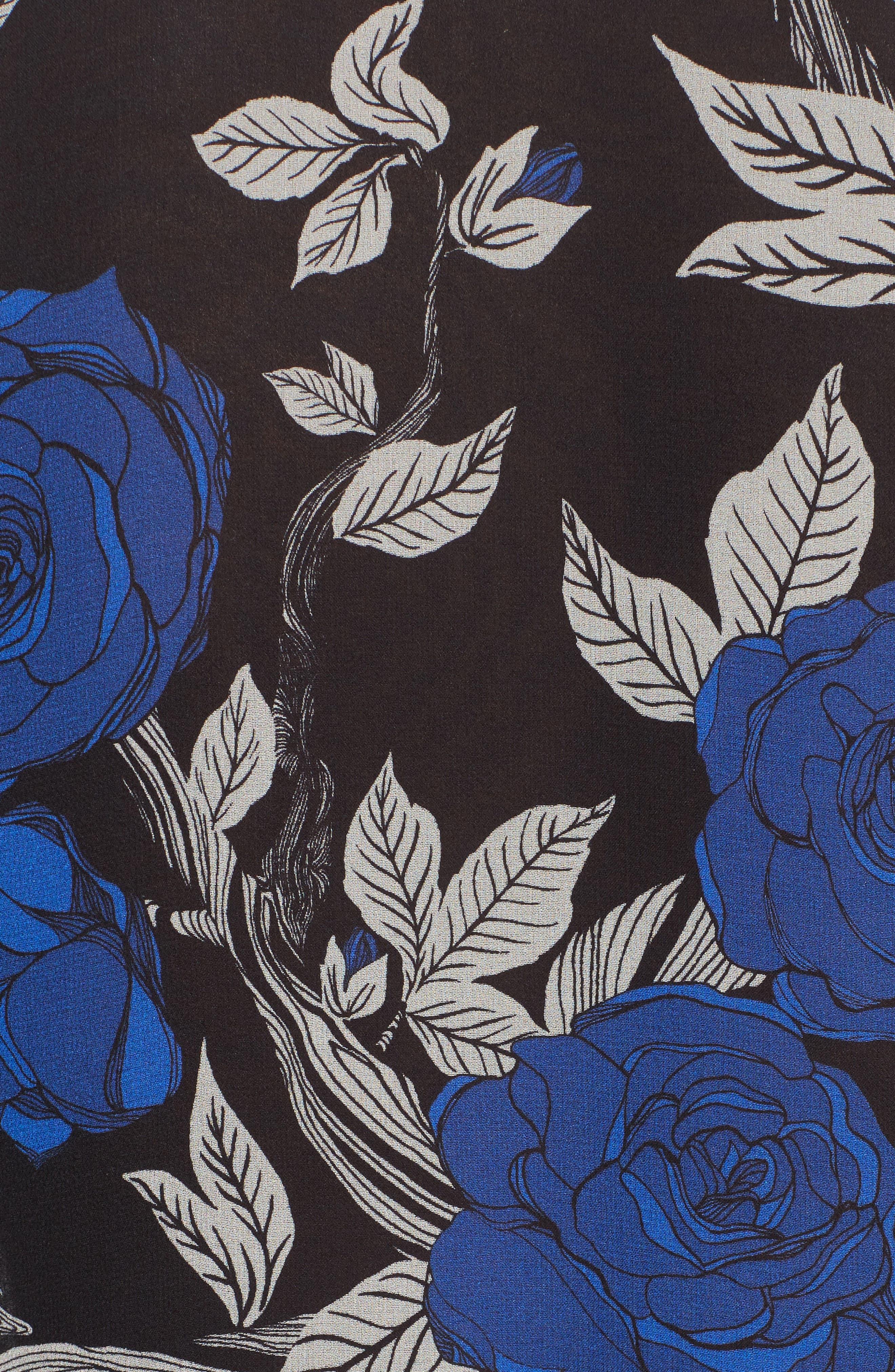 Floral Silk Tie Neck Blouse,                             Alternate thumbnail 5, color,                             002