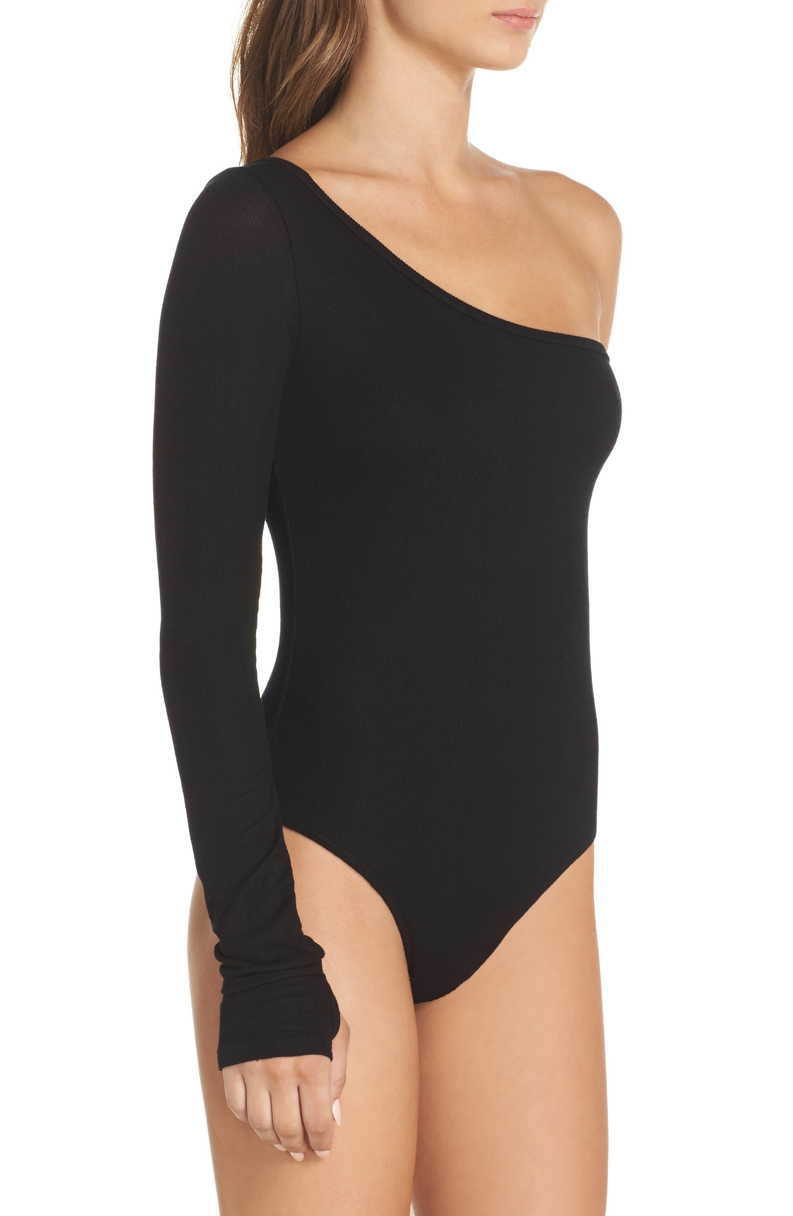 Sasha One-Shoulder Thong Bodysuit,                             Alternate thumbnail 3, color,                             001