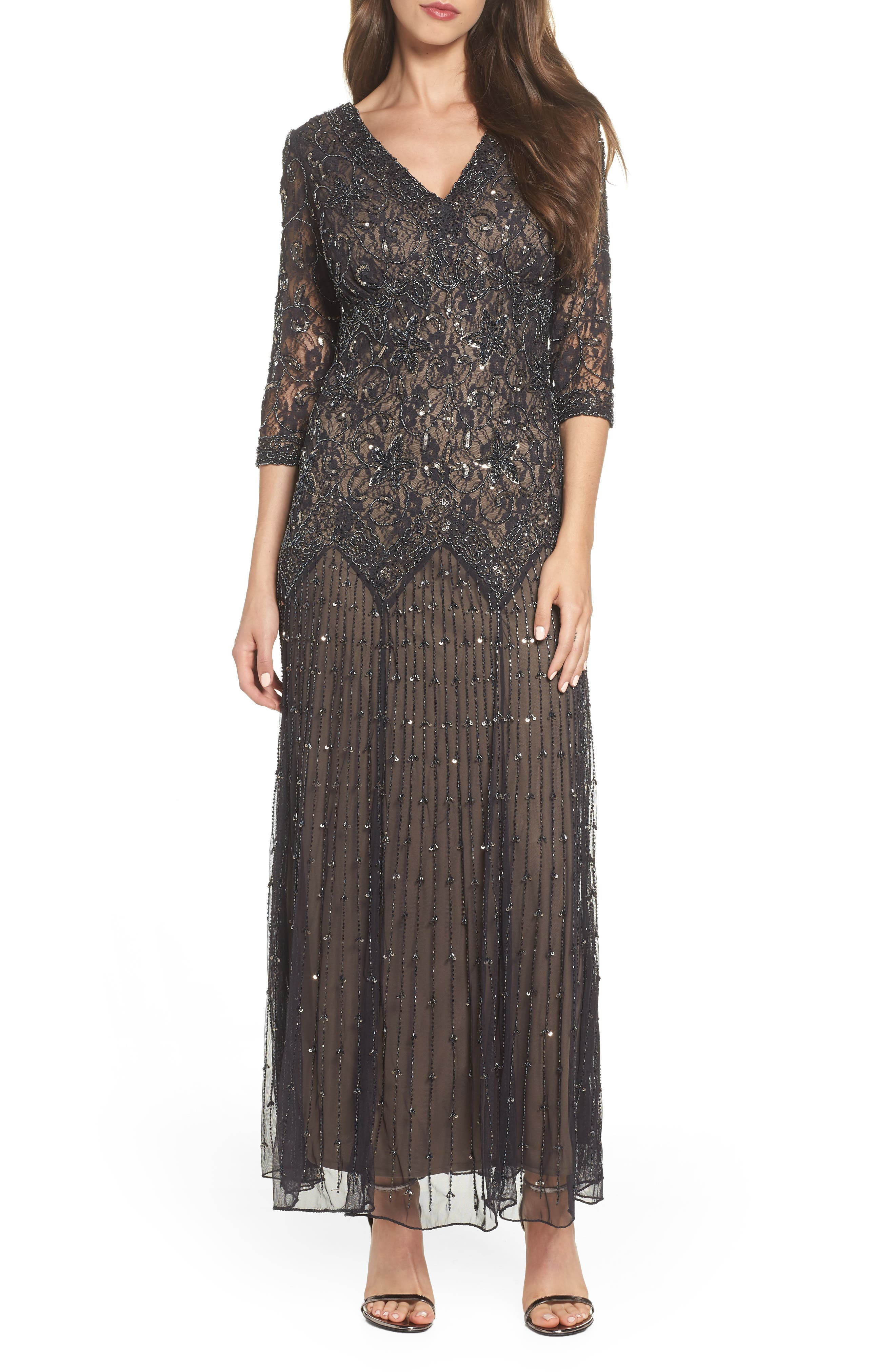 Beaded Mesh Gown,                             Main thumbnail 1, color,                             CHARCOAL