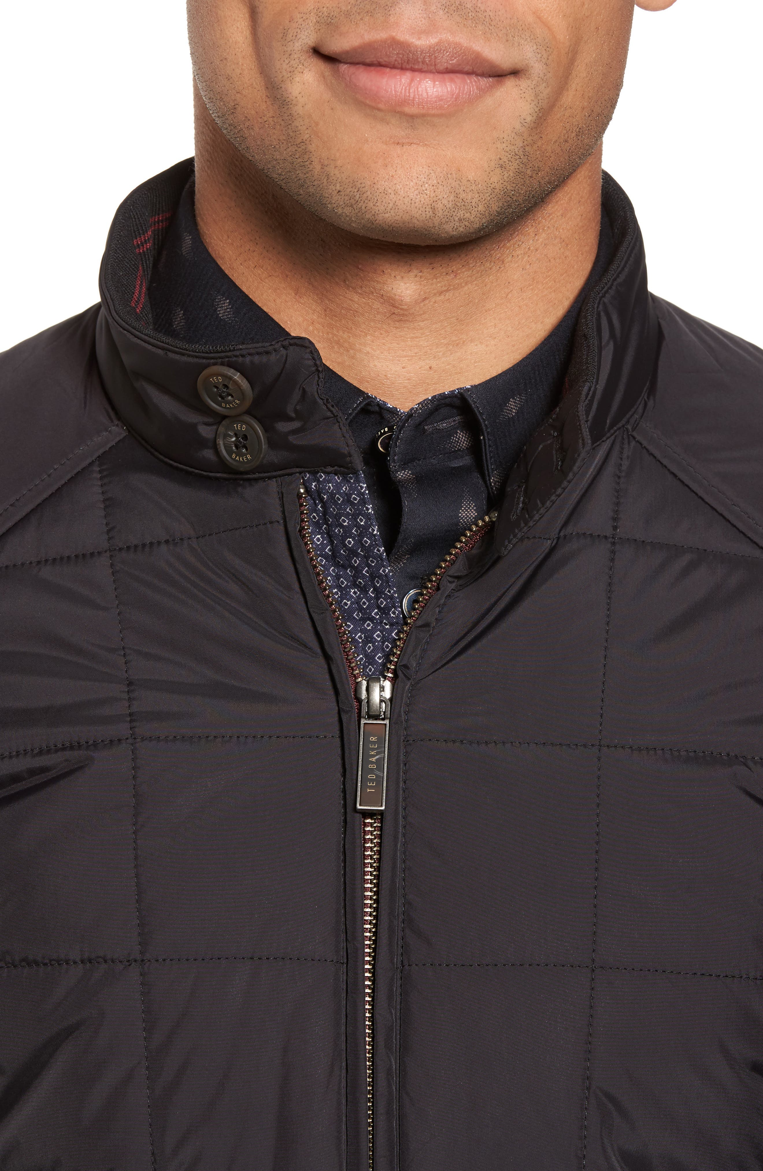 Alees Trim Fit Quilted Jacket,                             Alternate thumbnail 4, color,                             001
