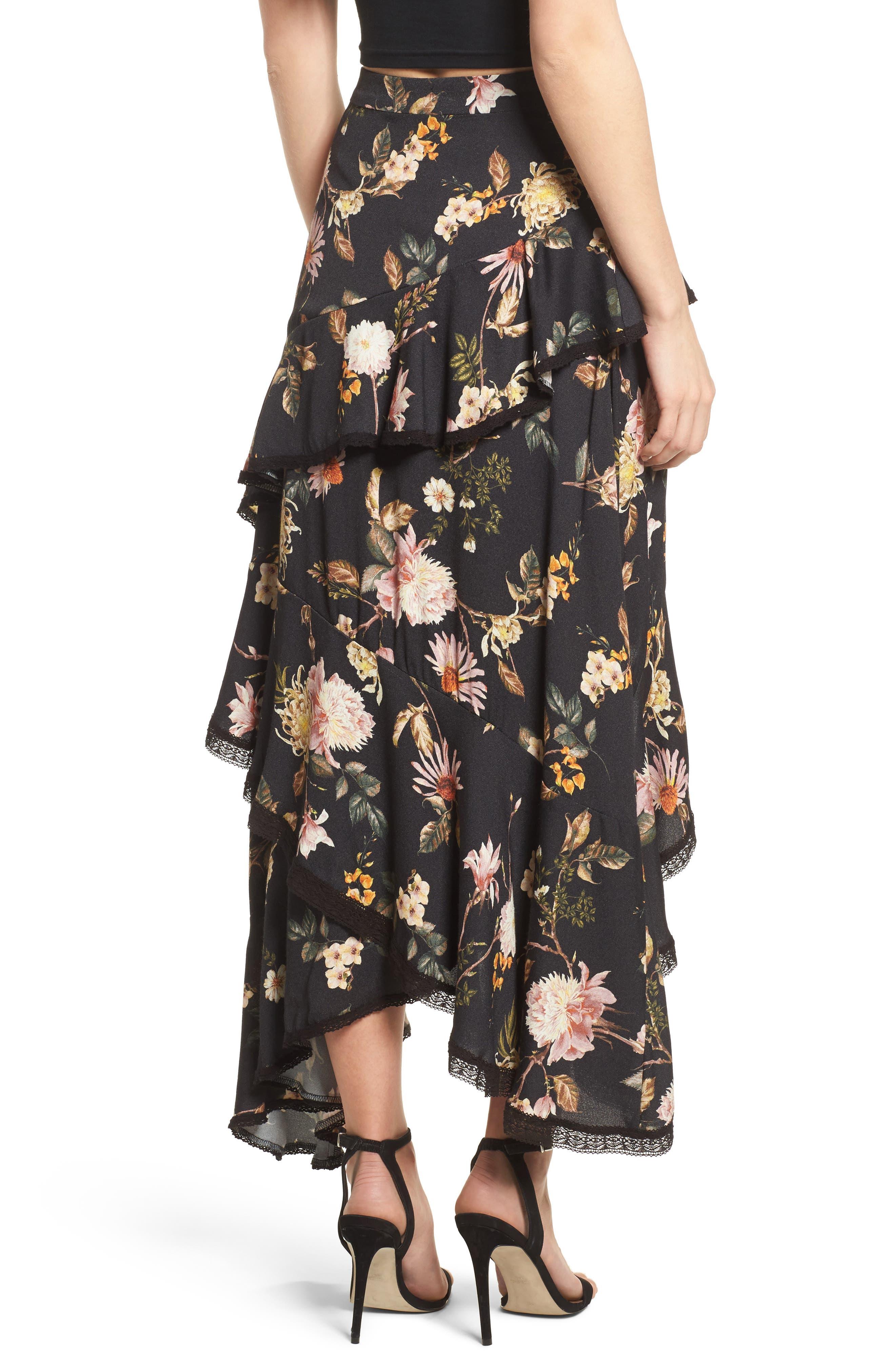 Grace Asymmetrical Ruffle Skirt,                             Alternate thumbnail 4, color,