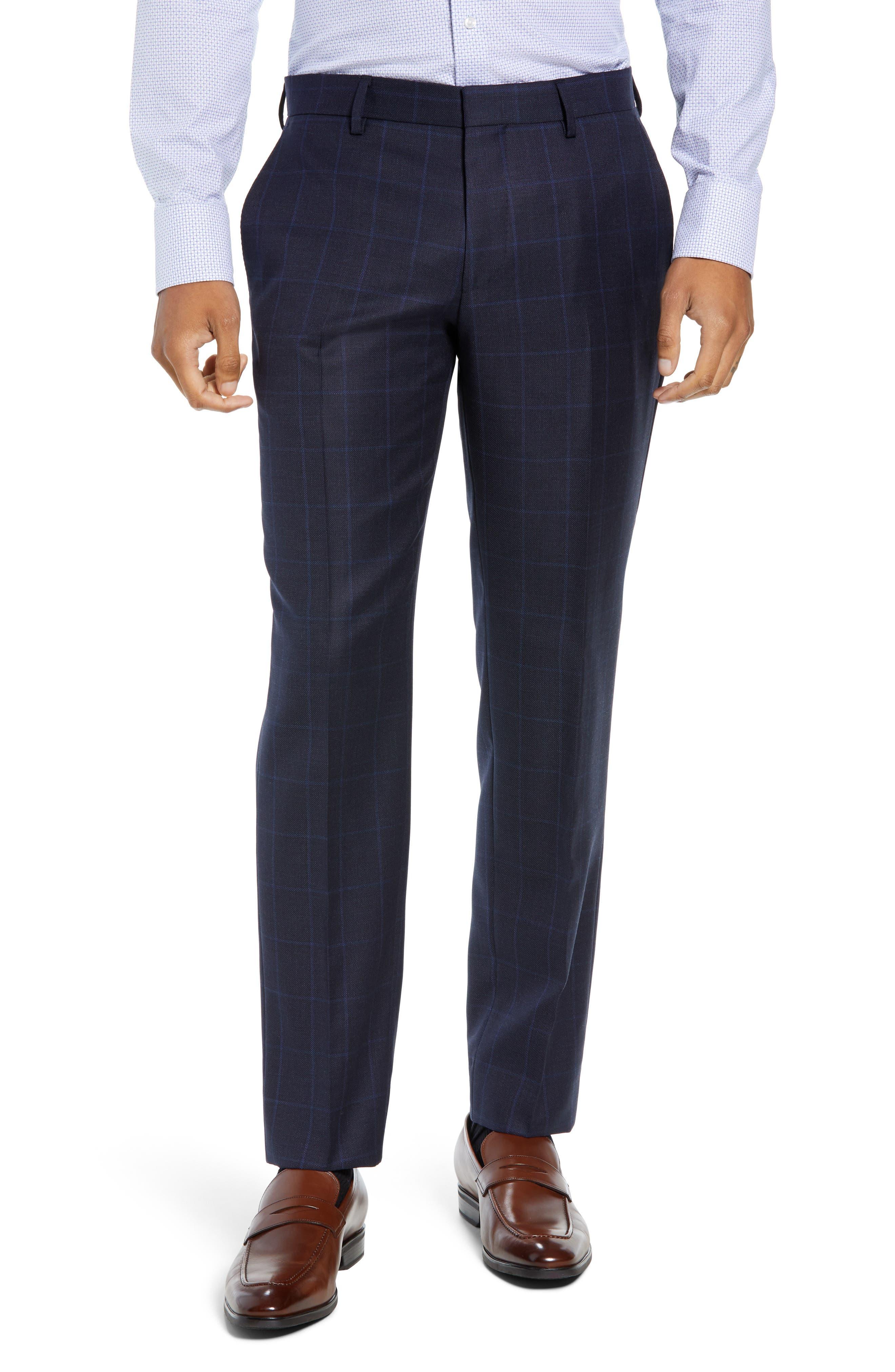 Huge/Genius Trim Fit Windowpane Wool Three-Piece Suit,                             Alternate thumbnail 7, color,                             480
