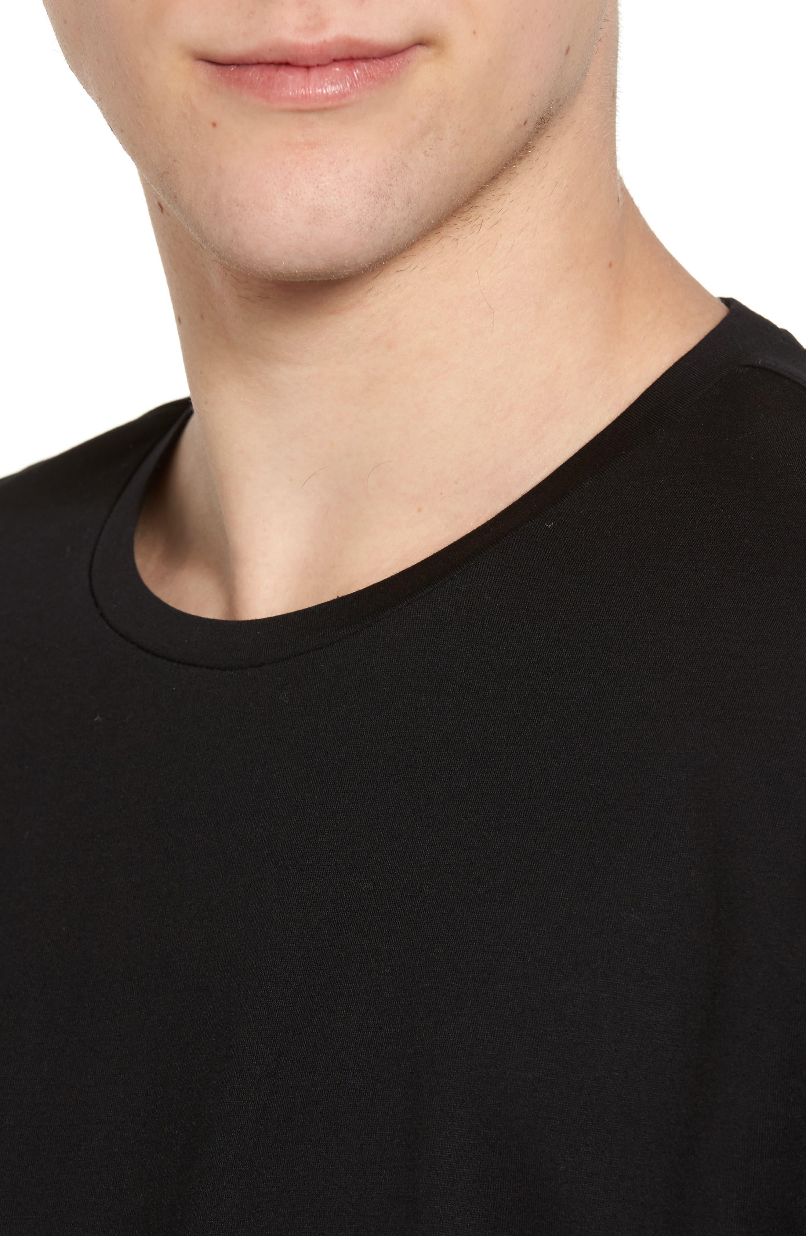 Mercerized Cotton Crewneck T-Shirt,                             Alternate thumbnail 4, color,                             001