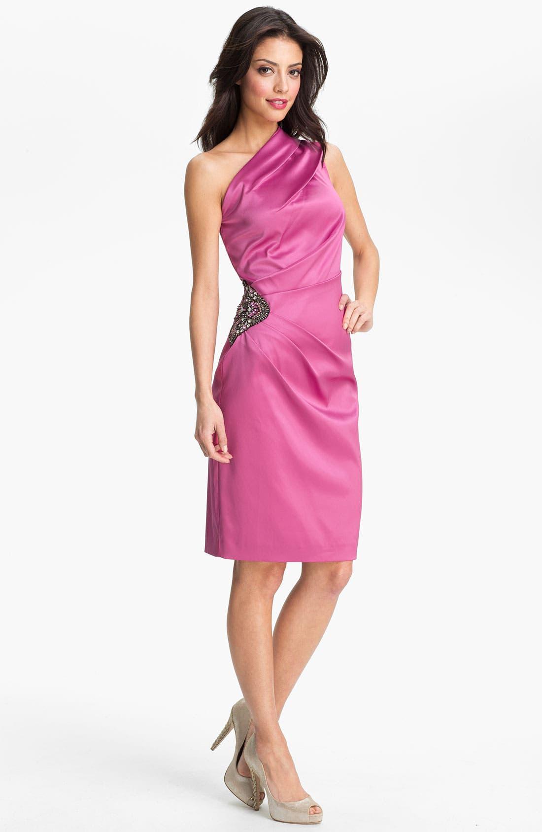 Beaded One-Shoulder Satin Dress,                             Main thumbnail 7, color,
