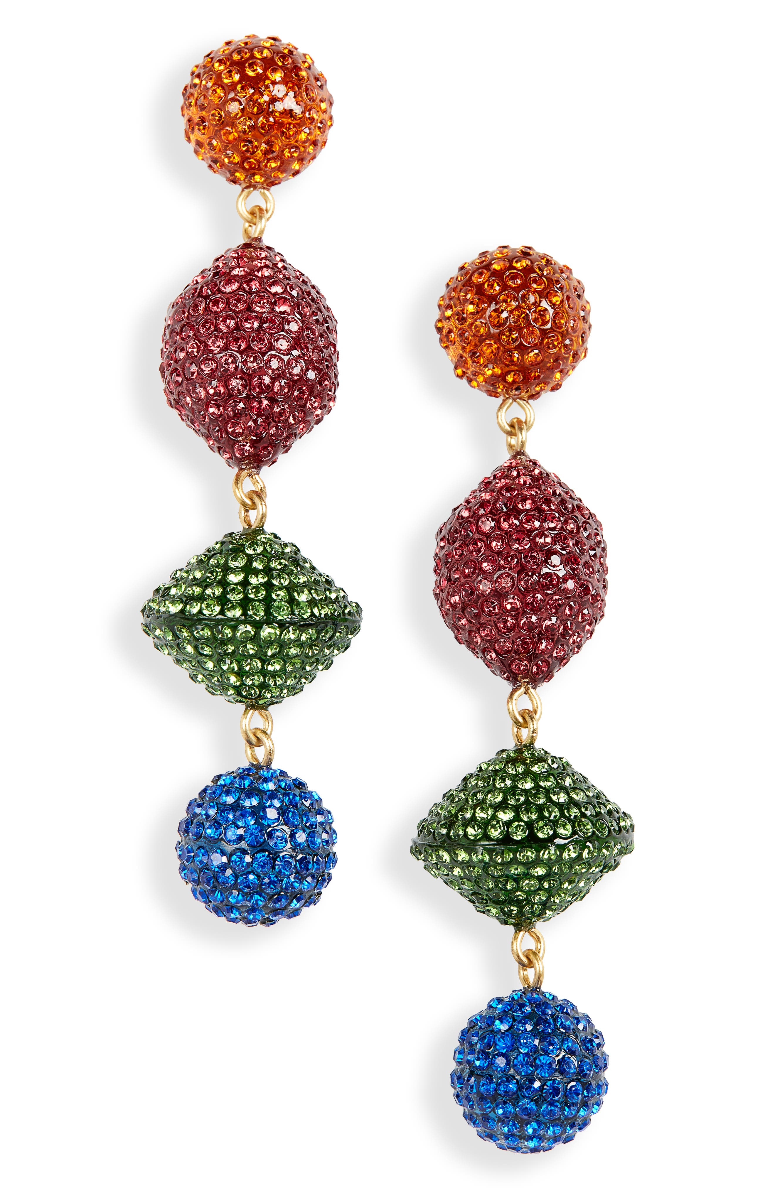 Pavé Resin Statement Earrings,                             Main thumbnail 1, color,                             RED MULTI