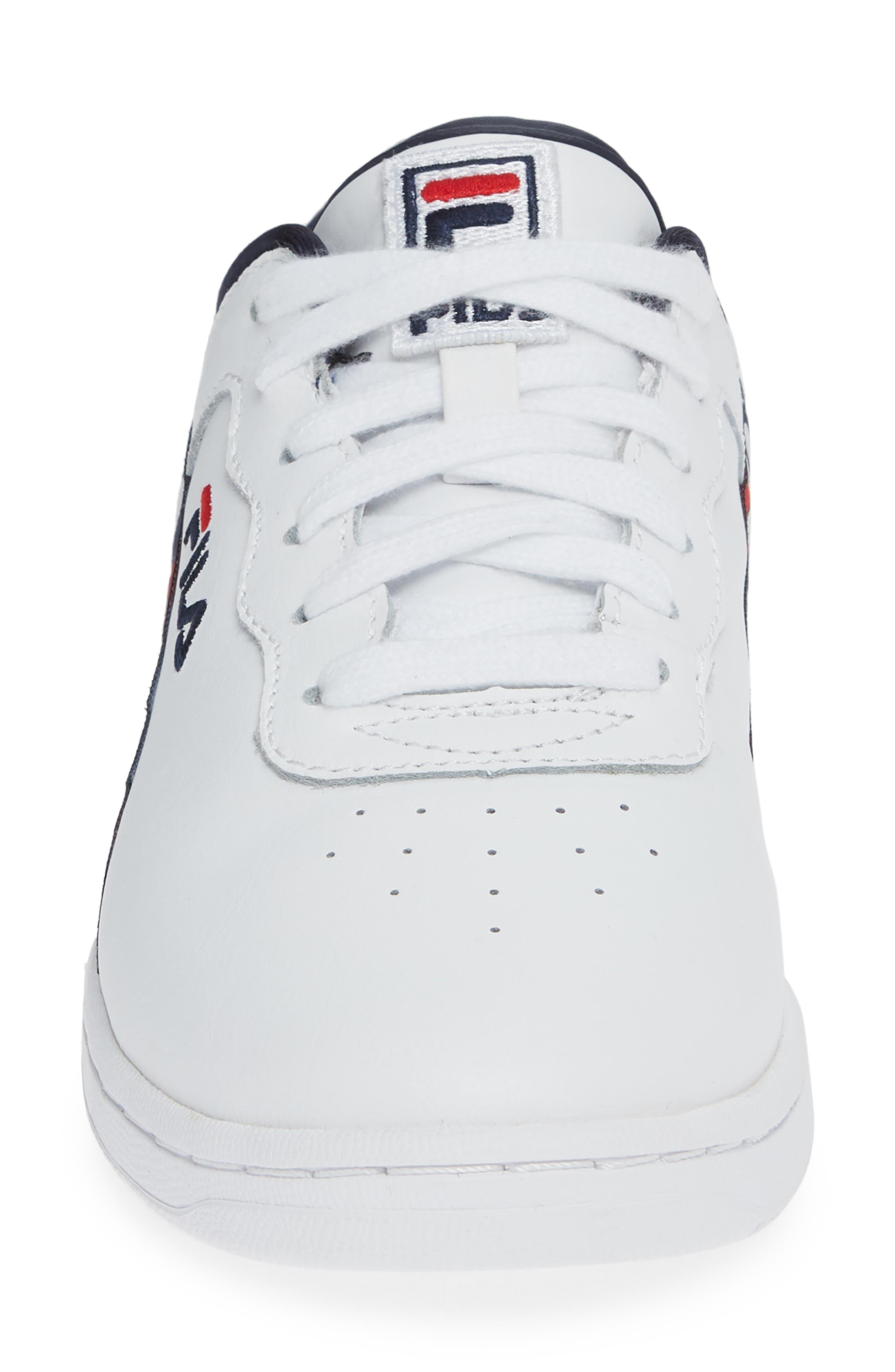 Original Fitness Logo Tape Sneaker,                             Alternate thumbnail 4, color,                             WHITE/ NAVY/ RED