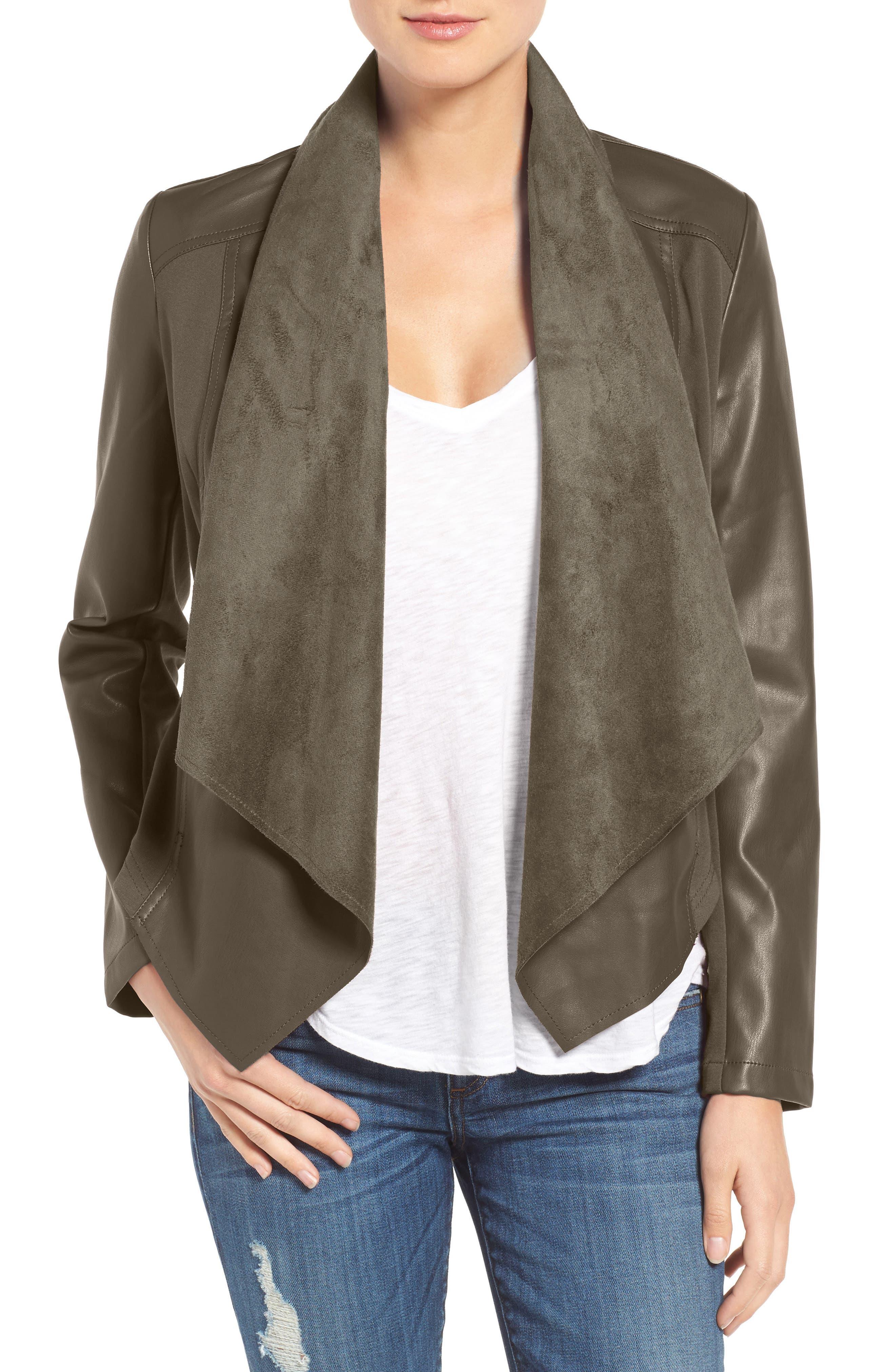 'Ana' Faux Leather Drape Front Jacket,                             Main thumbnail 3, color,
