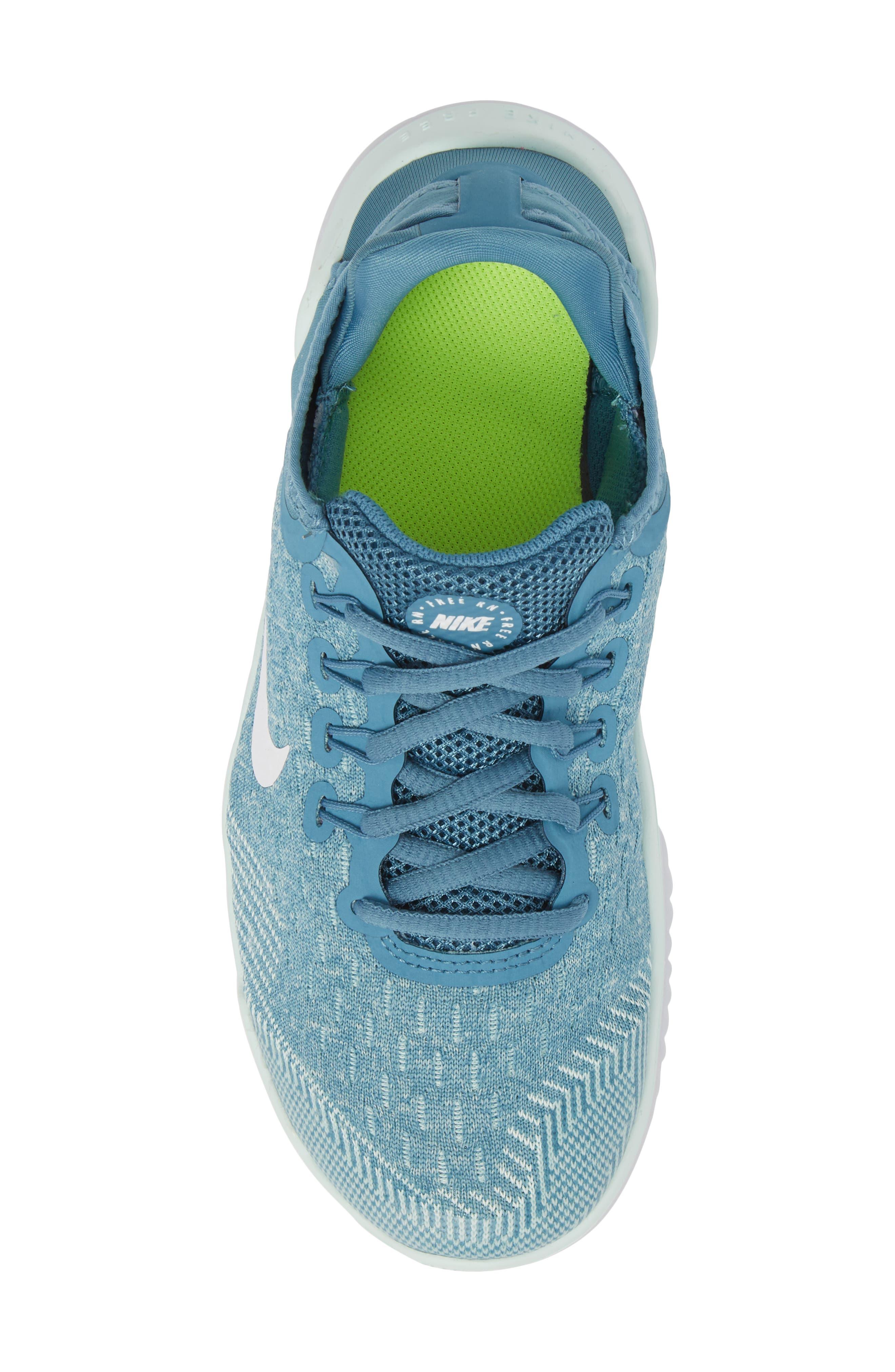 Free RN 2018 Running Shoe,                             Alternate thumbnail 5, color,                             AQUA/ WHITE/ PURE PLATINUM