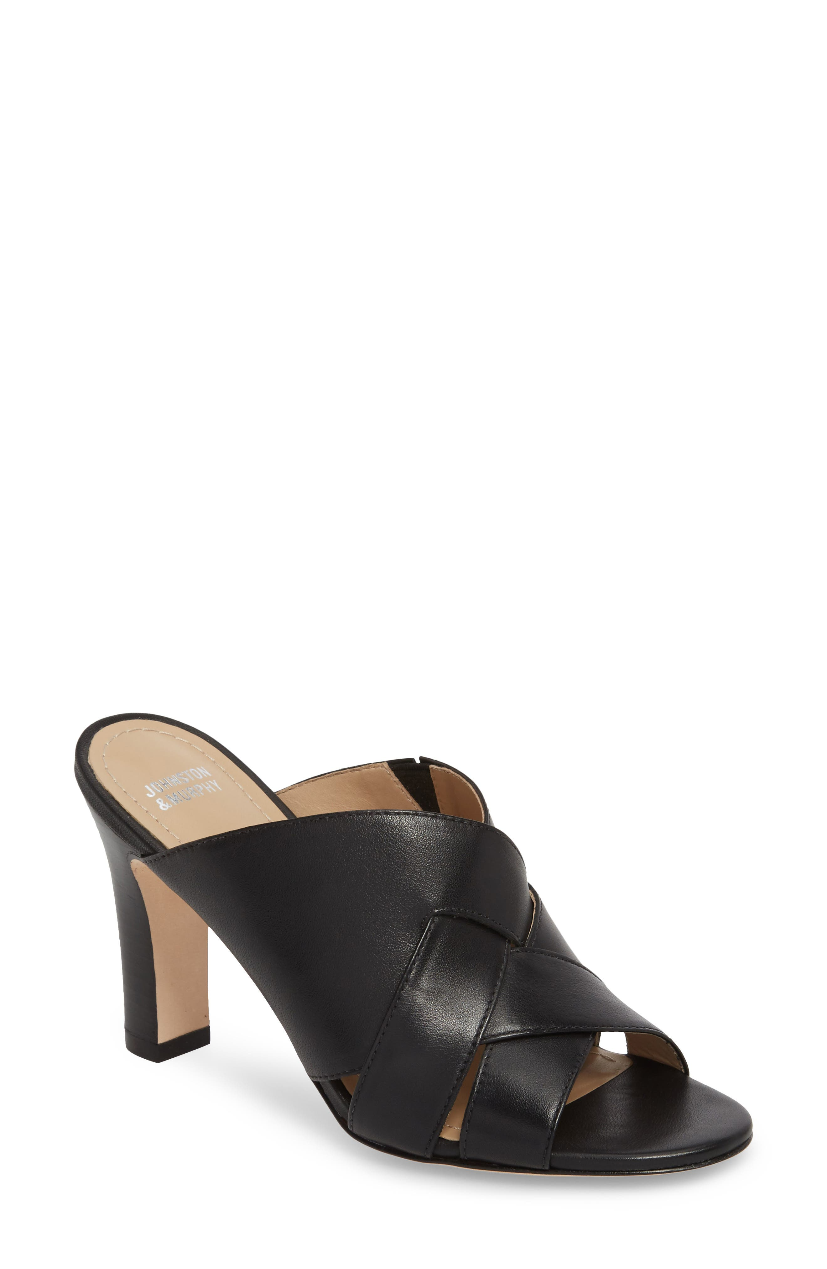 Carrie Mule Sandal,                             Main thumbnail 1, color,                             BLACK LEATHER