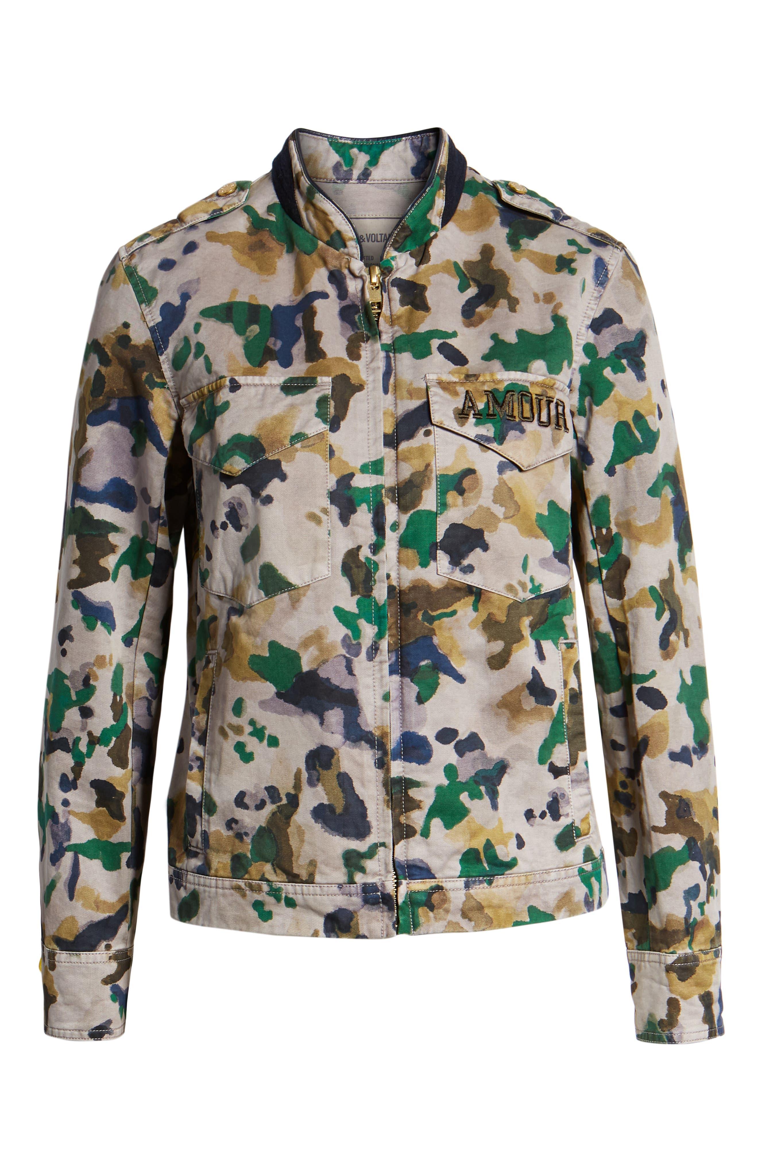 Kavy Watercolor Camouflage Cotton Jacket,                             Alternate thumbnail 6, color,                             MULTI