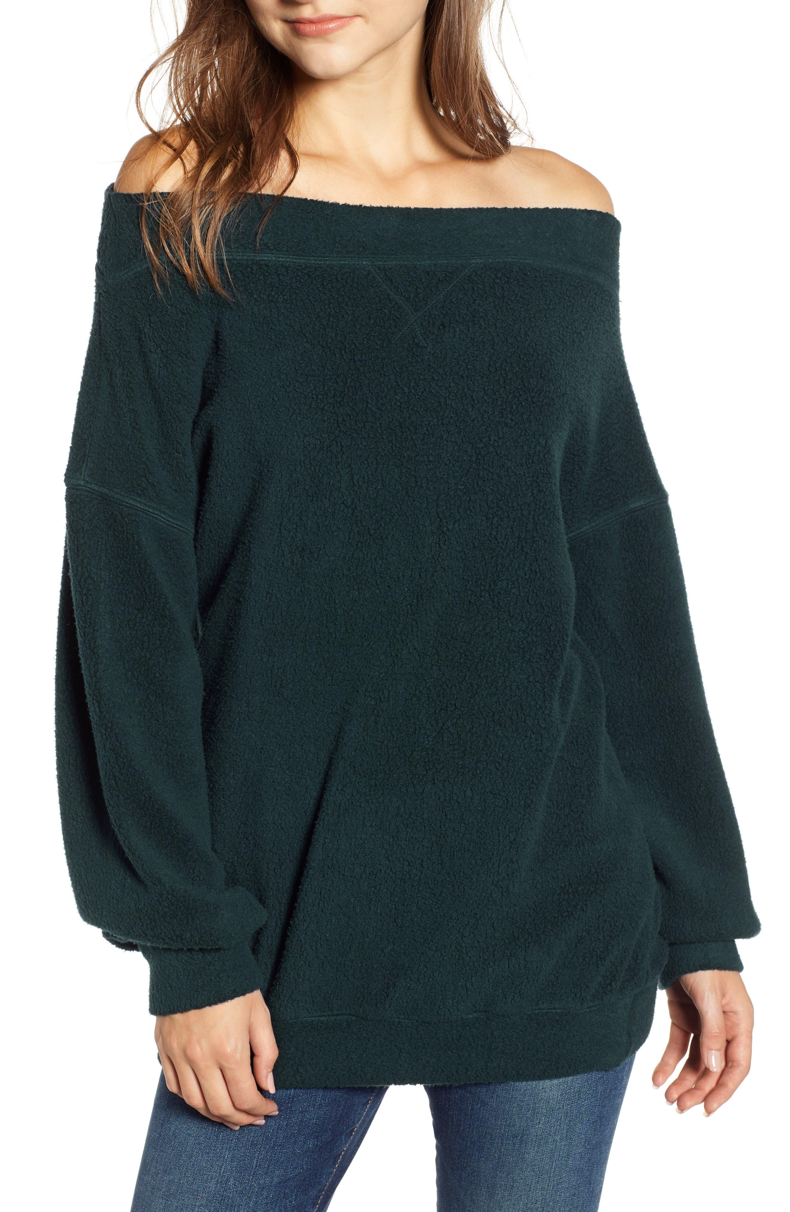 Off the Shoulder Fleece Sweatshirt,                             Main thumbnail 1, color,                             300