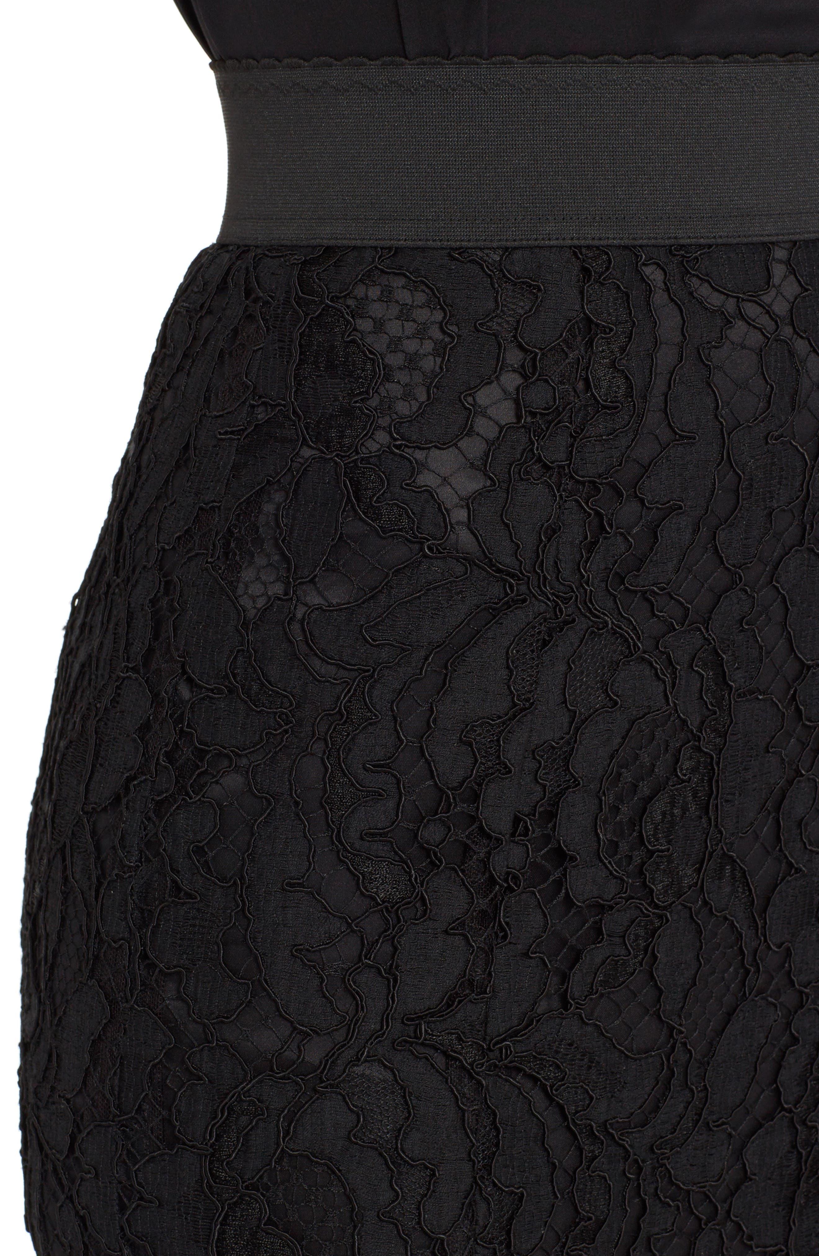 Lace Midi Skirt,                             Alternate thumbnail 4, color,                             BLACK