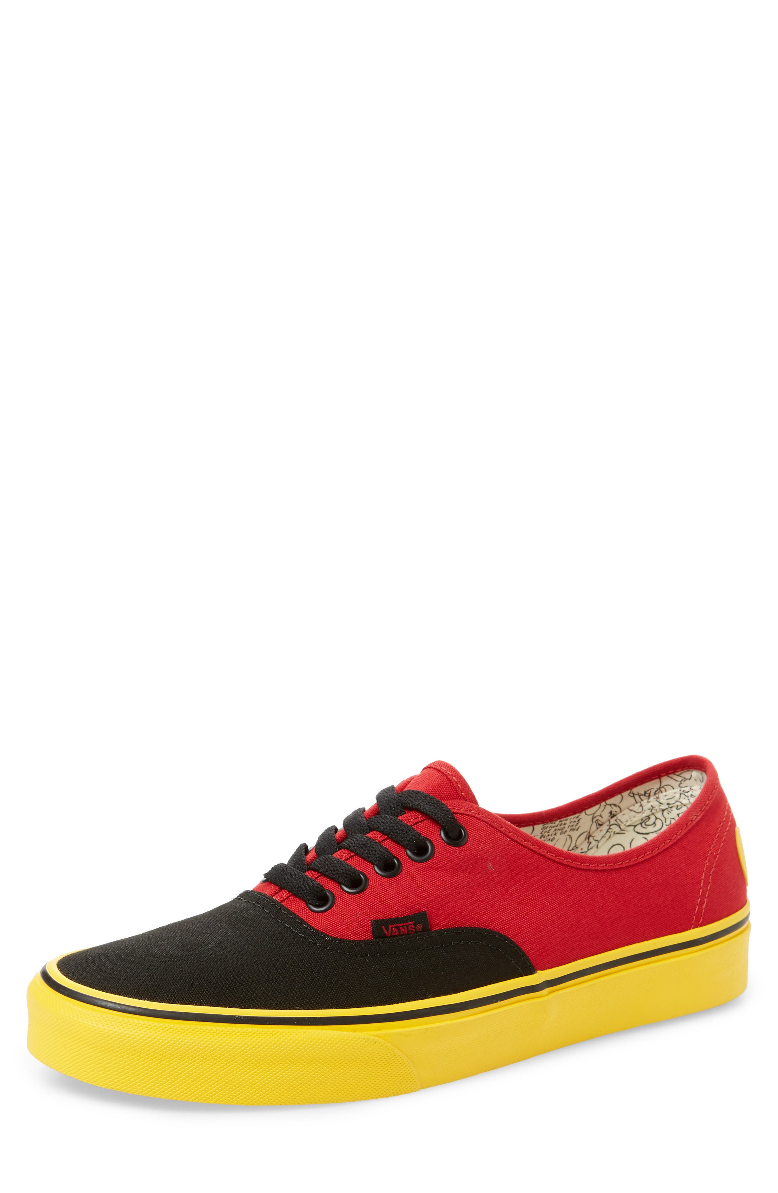 x Disney<sup>®</sup> Authentic Low Top Sneaker,                         Main,                         color, DISNEY MICKEY/ RED/ YELLOW
