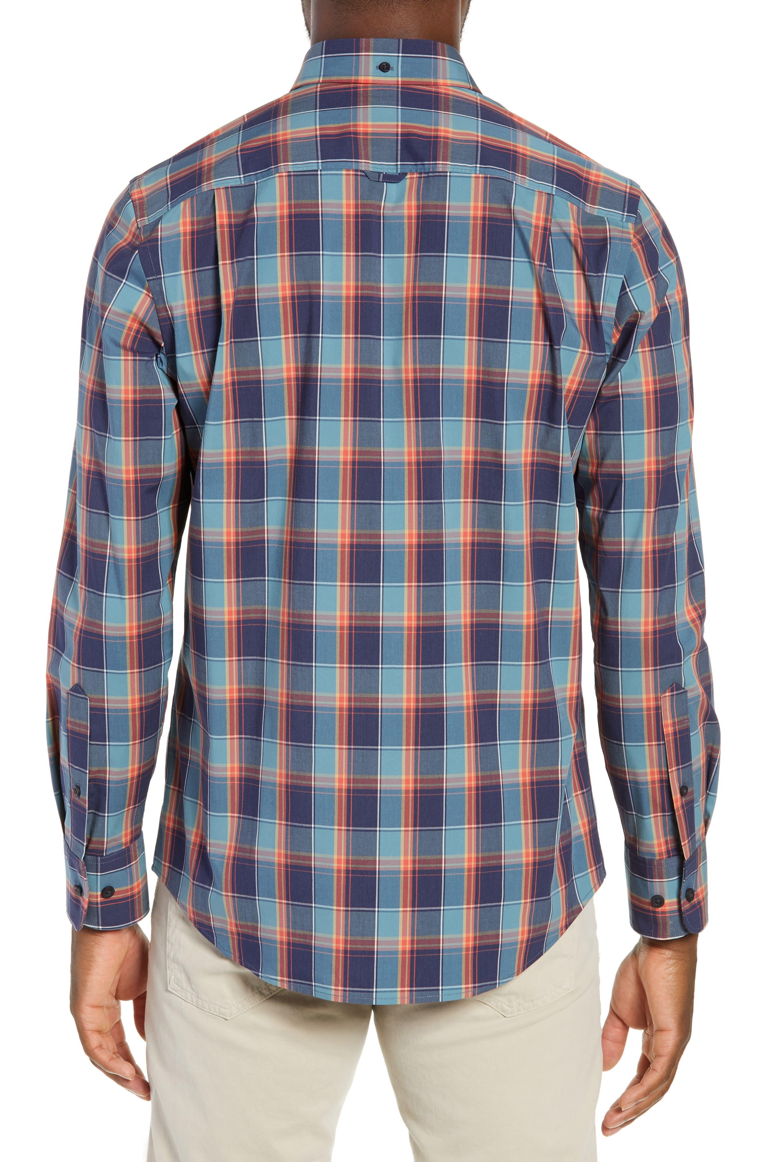 Tech-Smart Regular Fit Plaid Sport Shirt,                             Alternate thumbnail 3, color,                             NAVY CORAL PLAID
