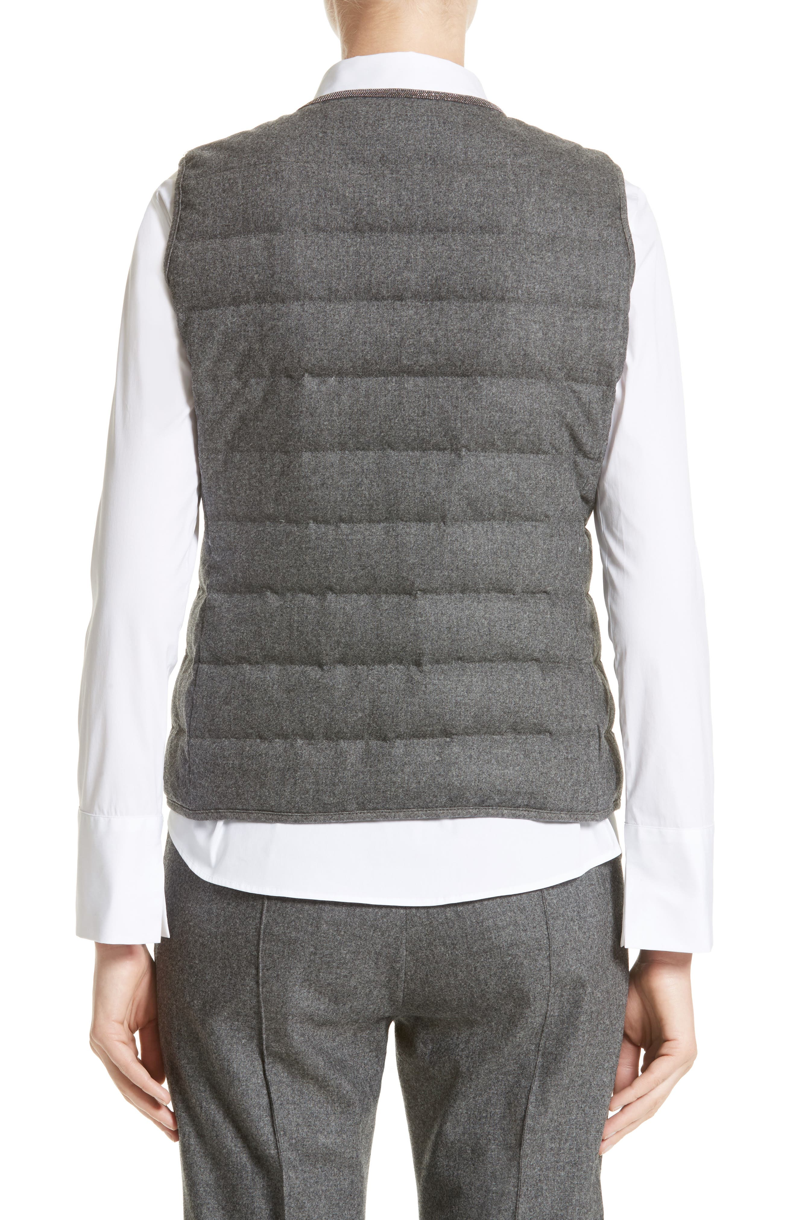 Pebbled Knit Front Quilted Down Vest,                             Alternate thumbnail 2, color,                             021