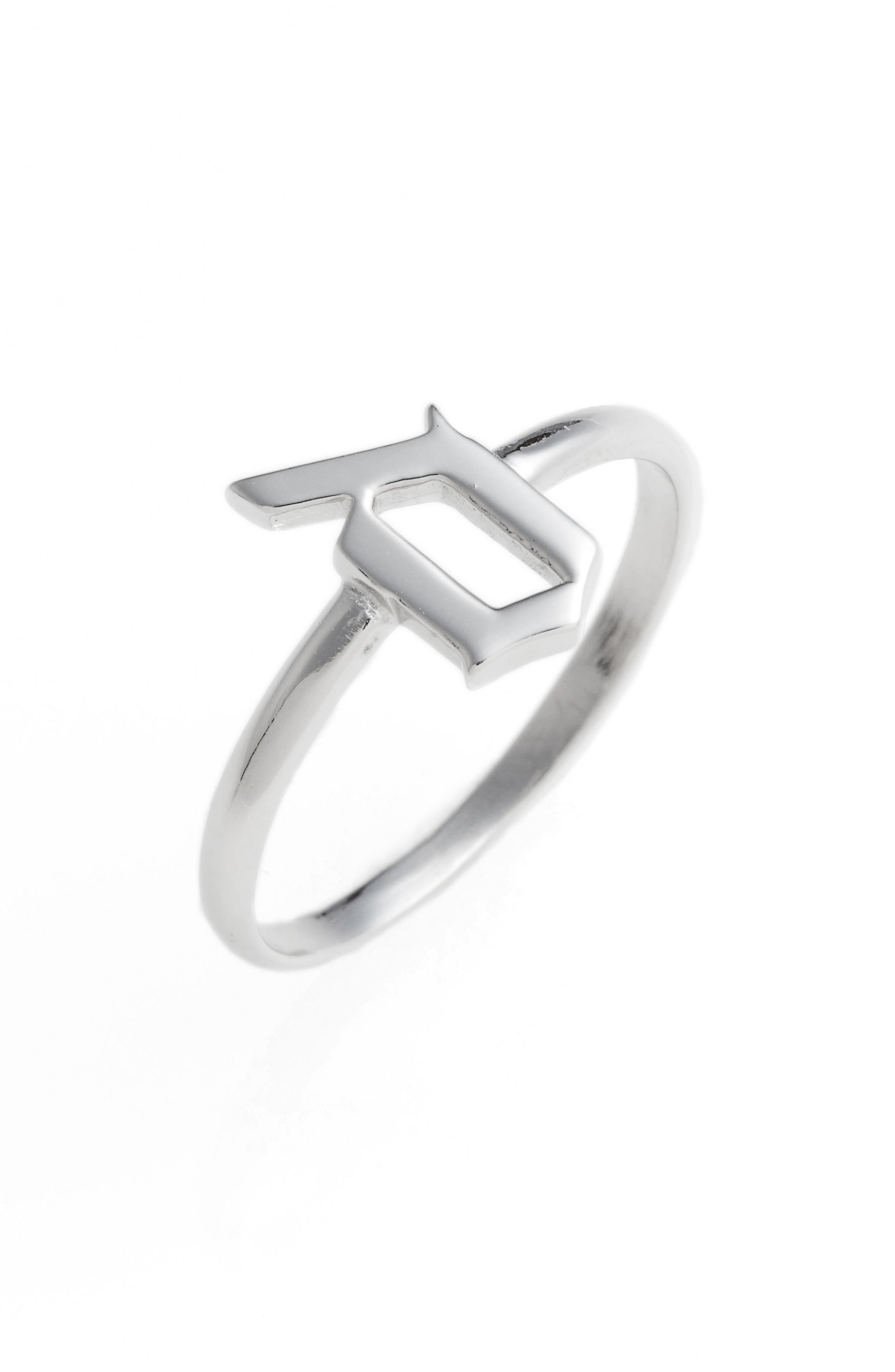 Gothic Initial Ring,                             Main thumbnail 4, color,
