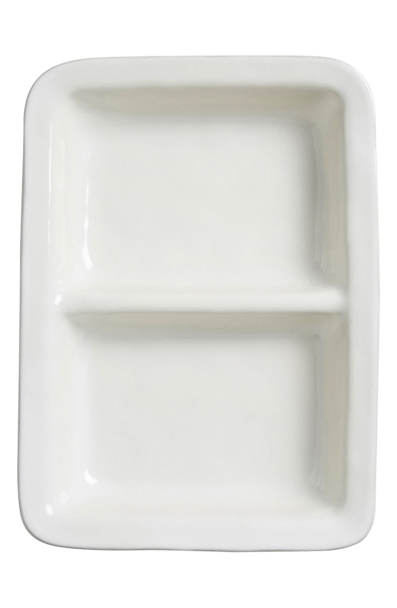 Puro Divided Ceramic Serving Bowl,                             Main thumbnail 1, color,                             WHITEWASH