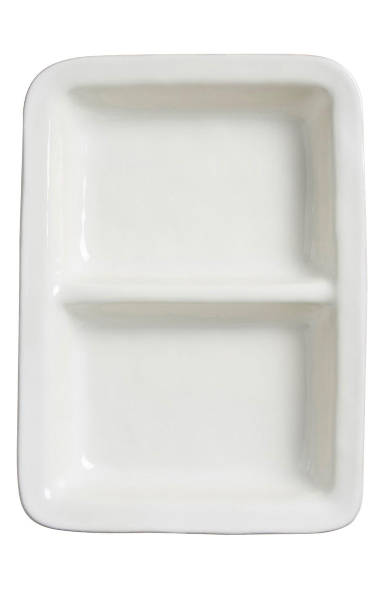 Puro Divided Ceramic Serving Bowl,                         Main,                         color, WHITEWASH