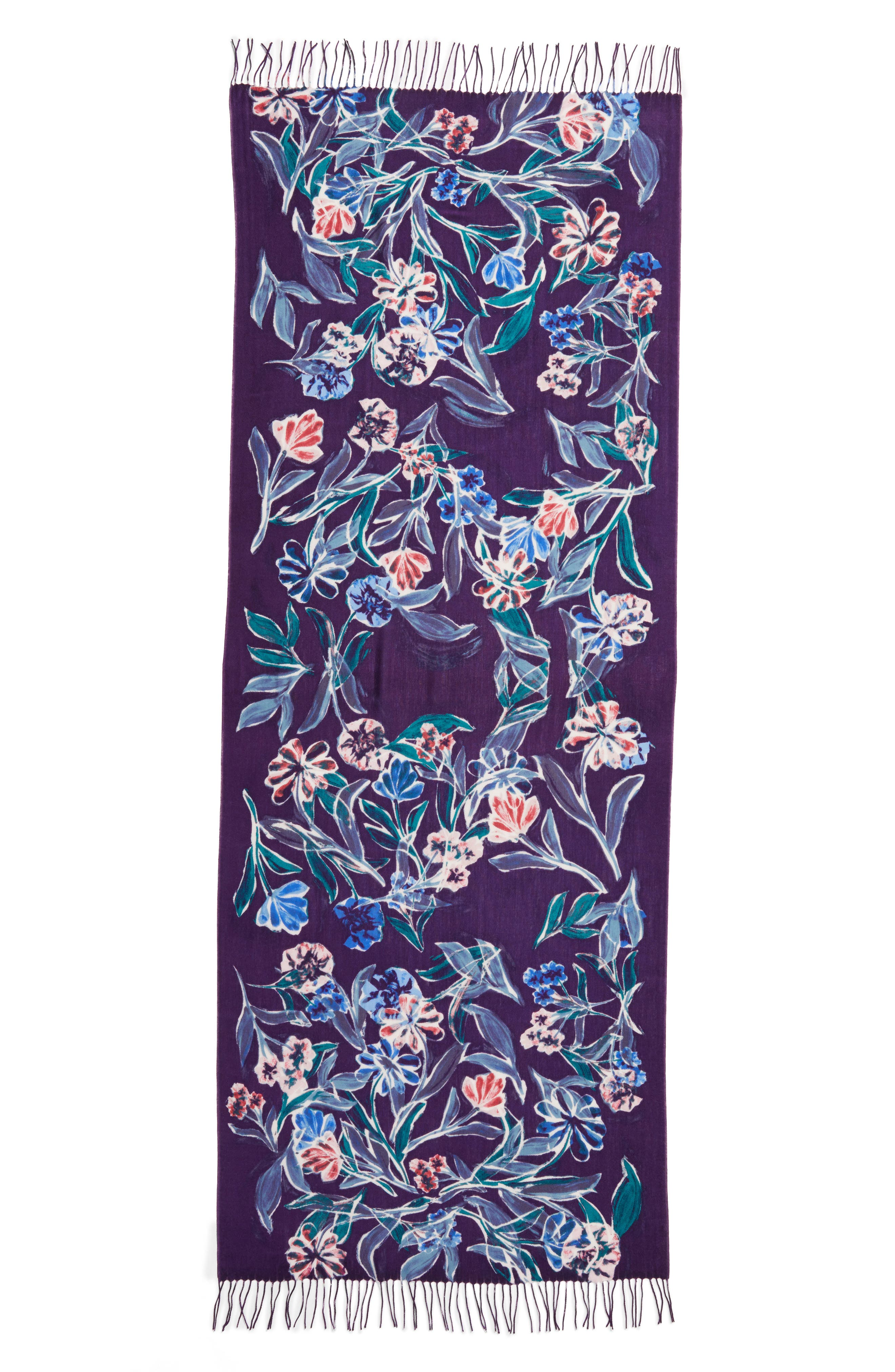 Pressed Flowers Tissue Weight Wool & Cashmere Scarf,                             Alternate thumbnail 9, color,