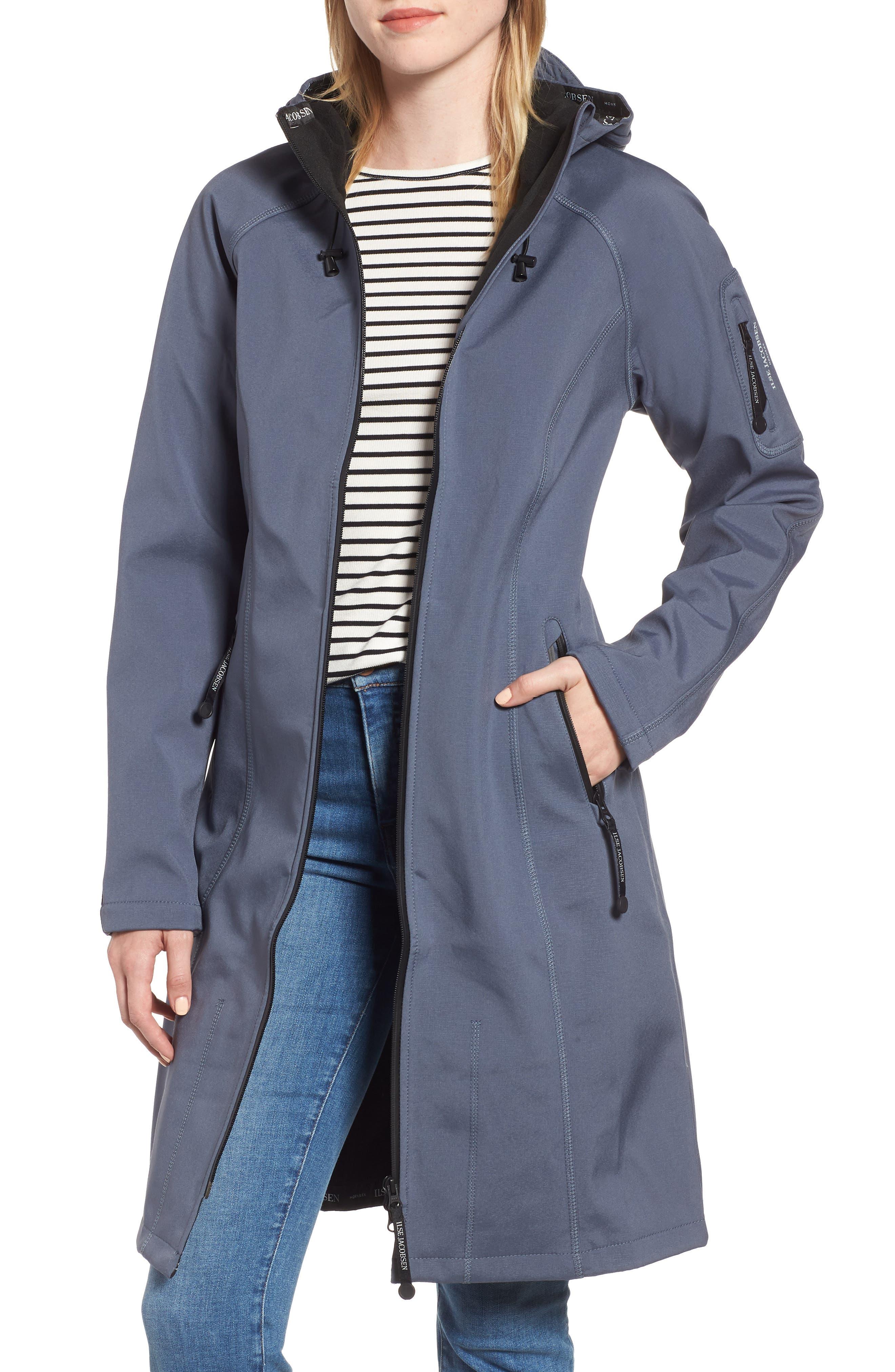 Long Hooded Raincoat,                         Main,                         color, BLUE GRAYNESS