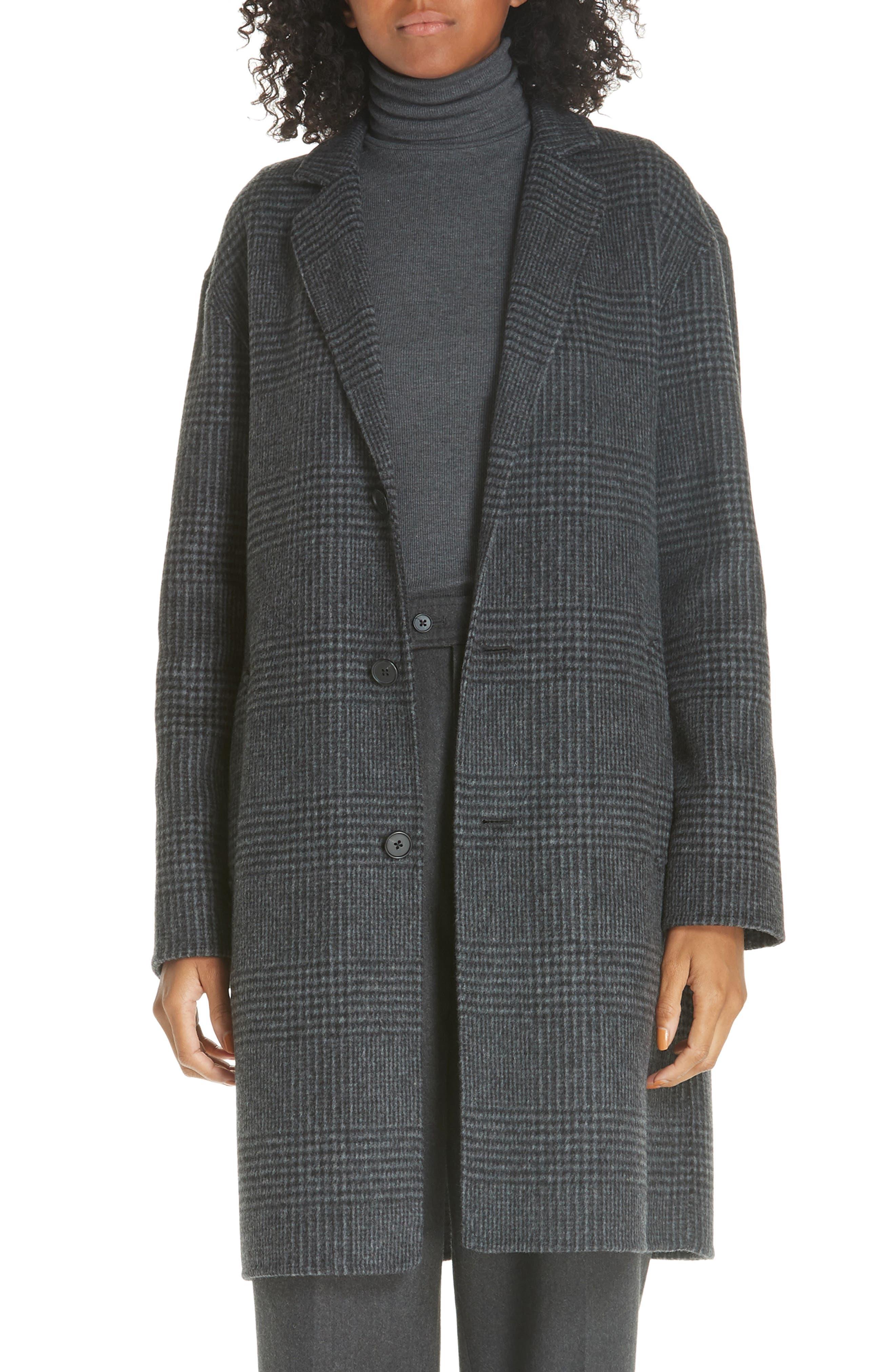 Plaid Wool Blend Coat,                             Main thumbnail 1, color,                             CHARCOAL GLEN PLAID