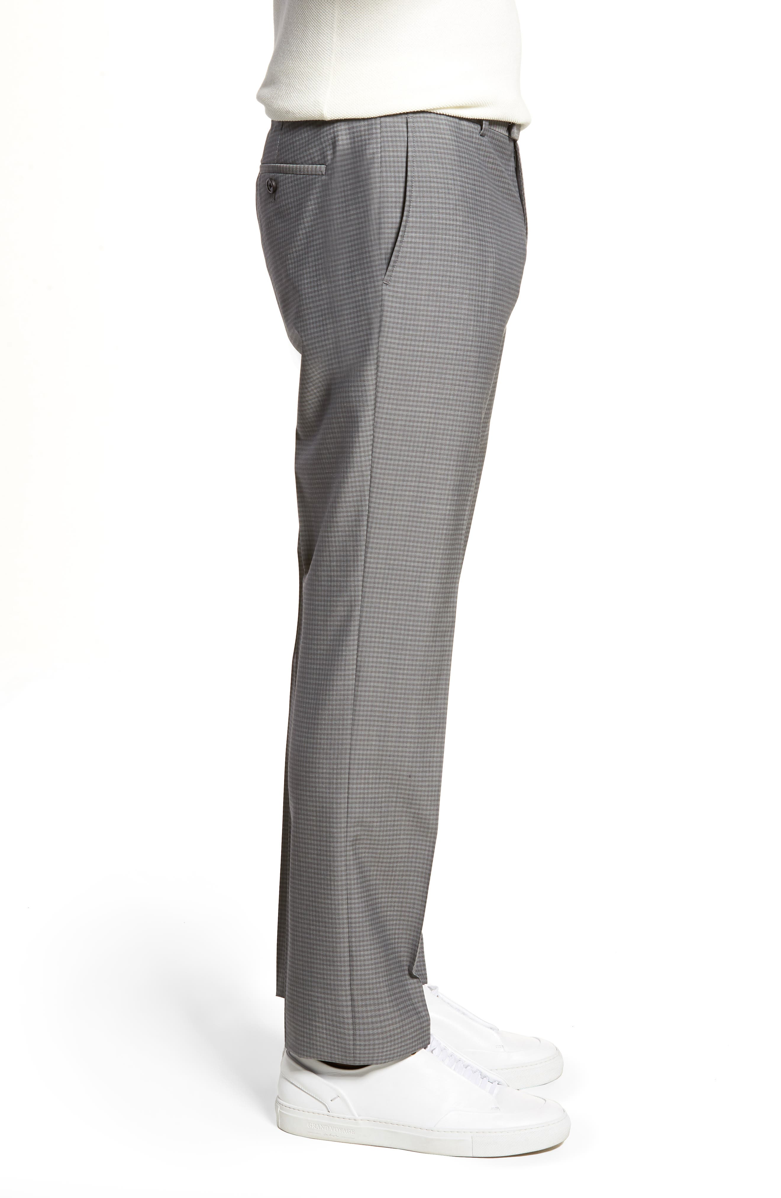 Marlo Flat Front Check Wool Trousers,                             Alternate thumbnail 3, color,                             023