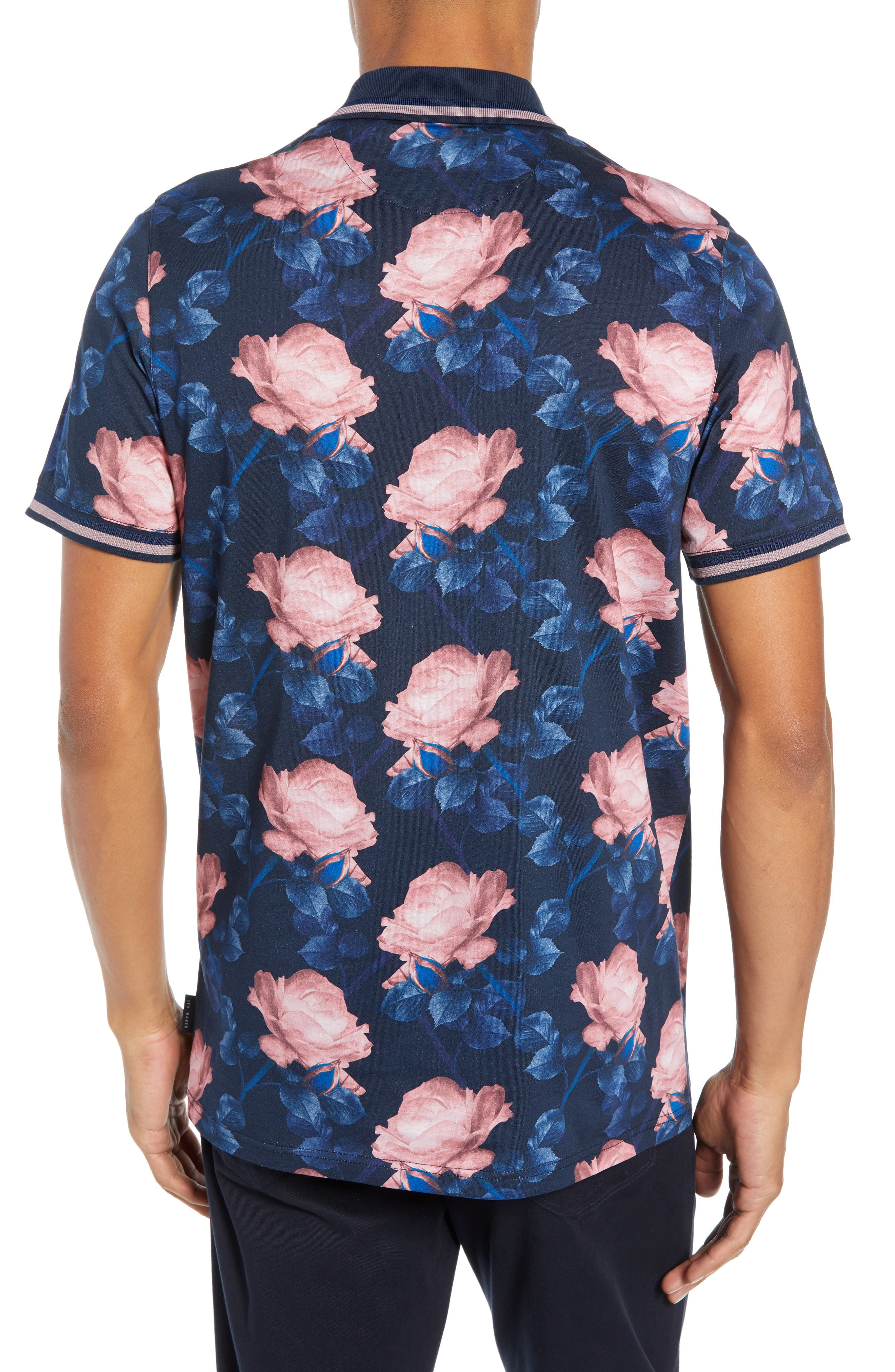 Slim Fit Lively Floral Print Polo,                             Alternate thumbnail 2, color,                             NAVY