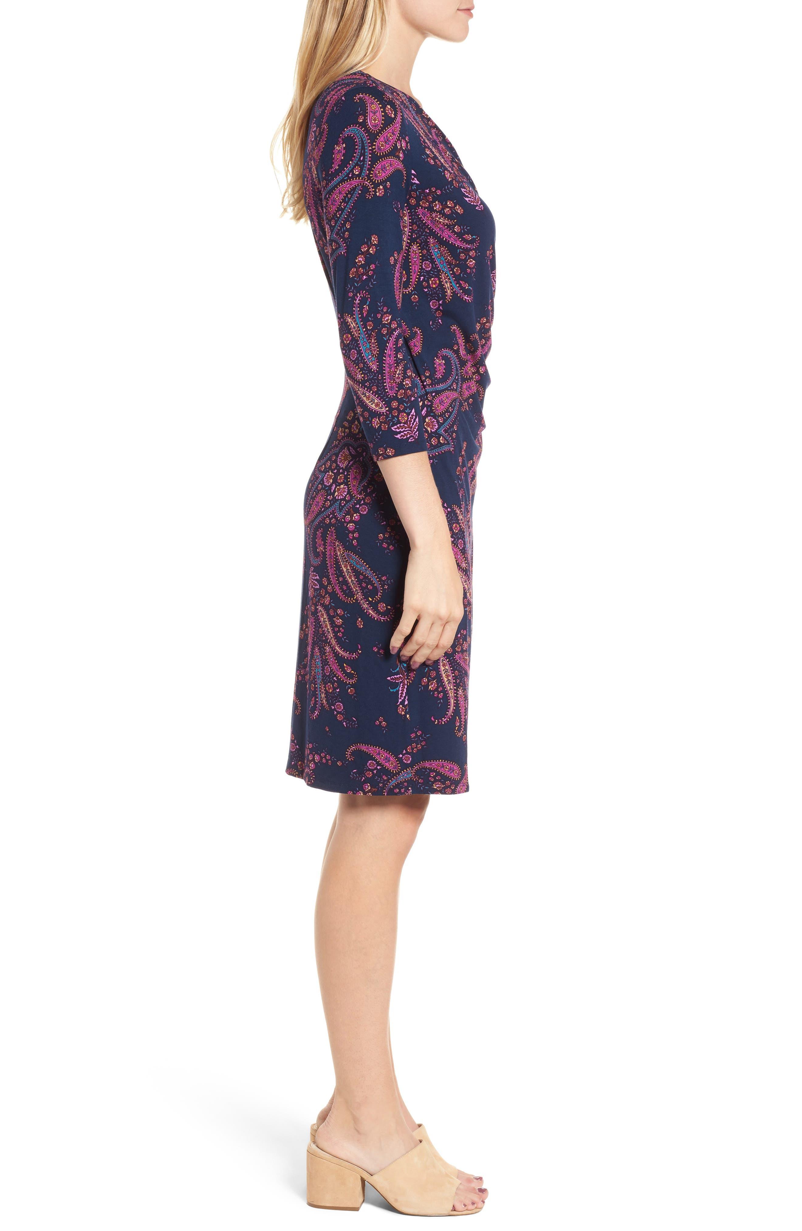Paisley Daze Faux Wrap Dress,                             Alternate thumbnail 3, color,                             400