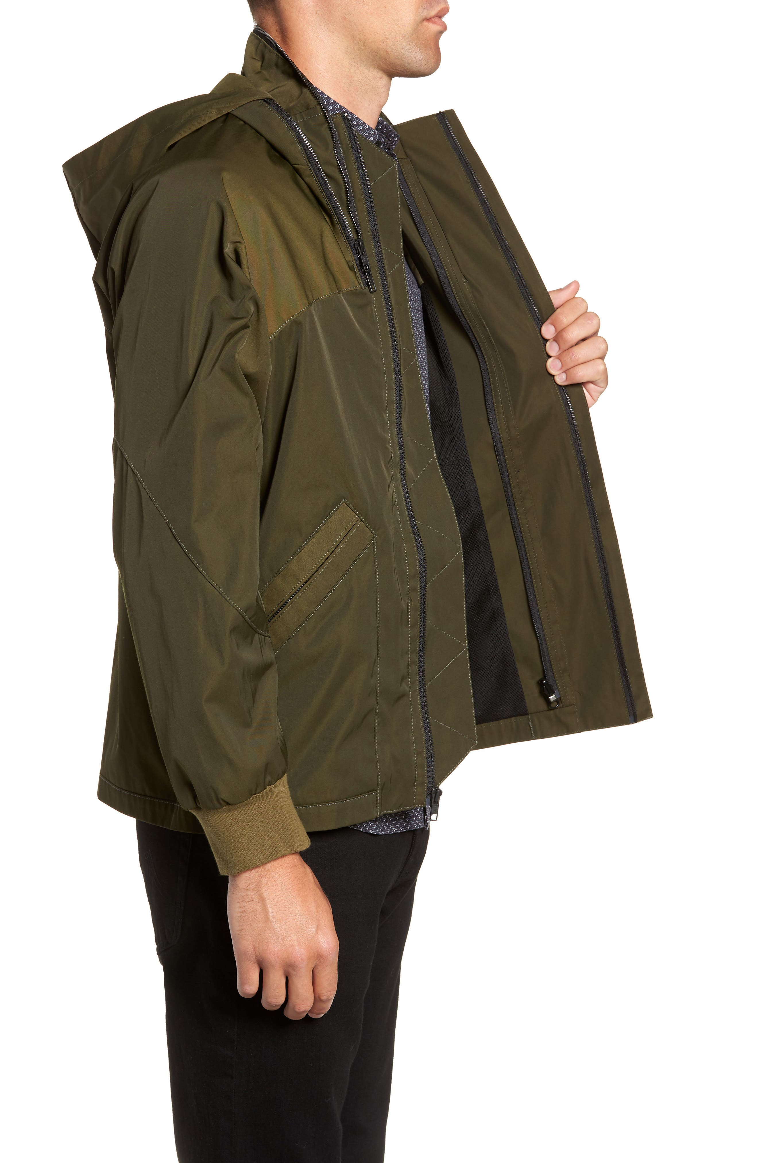 Slim Fit Delta Bomber Jacket,                             Alternate thumbnail 3, color,                             OLIVE