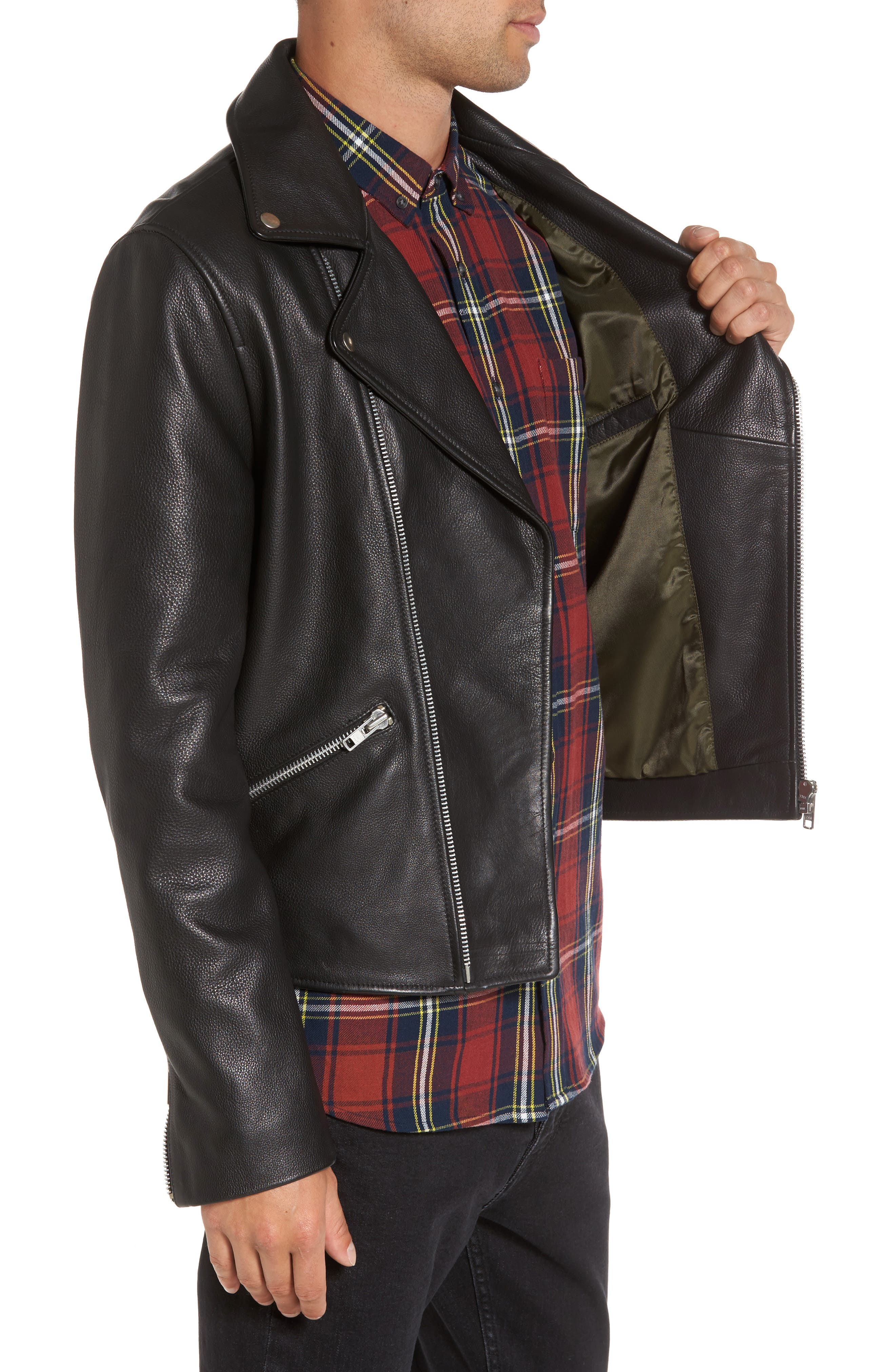 Staines Leather Moto Jacket,                             Alternate thumbnail 3, color,                             001