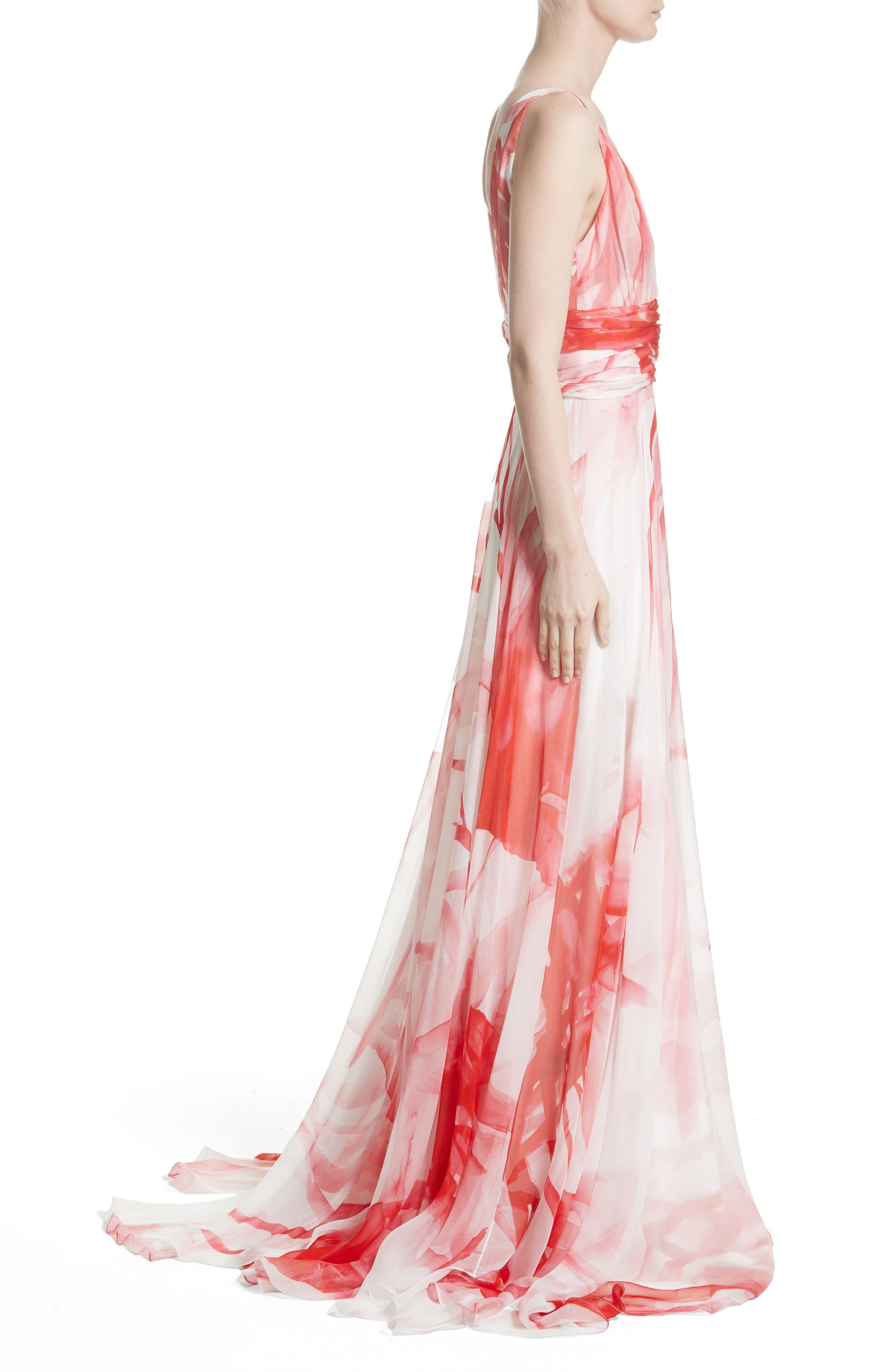 Print Silk Chiffon Gown,                             Alternate thumbnail 3, color,                             900