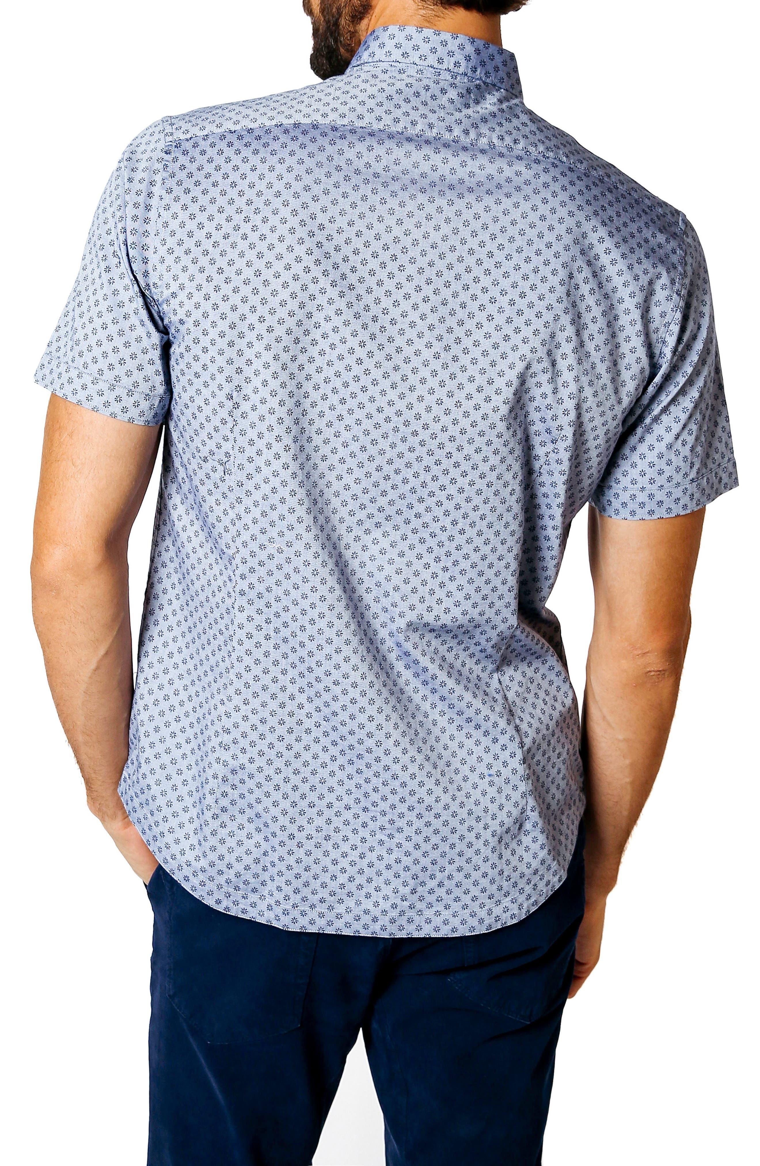 Trim Fit Micro Floral Sport Shirt,                             Alternate thumbnail 2, color,                             INDIGO