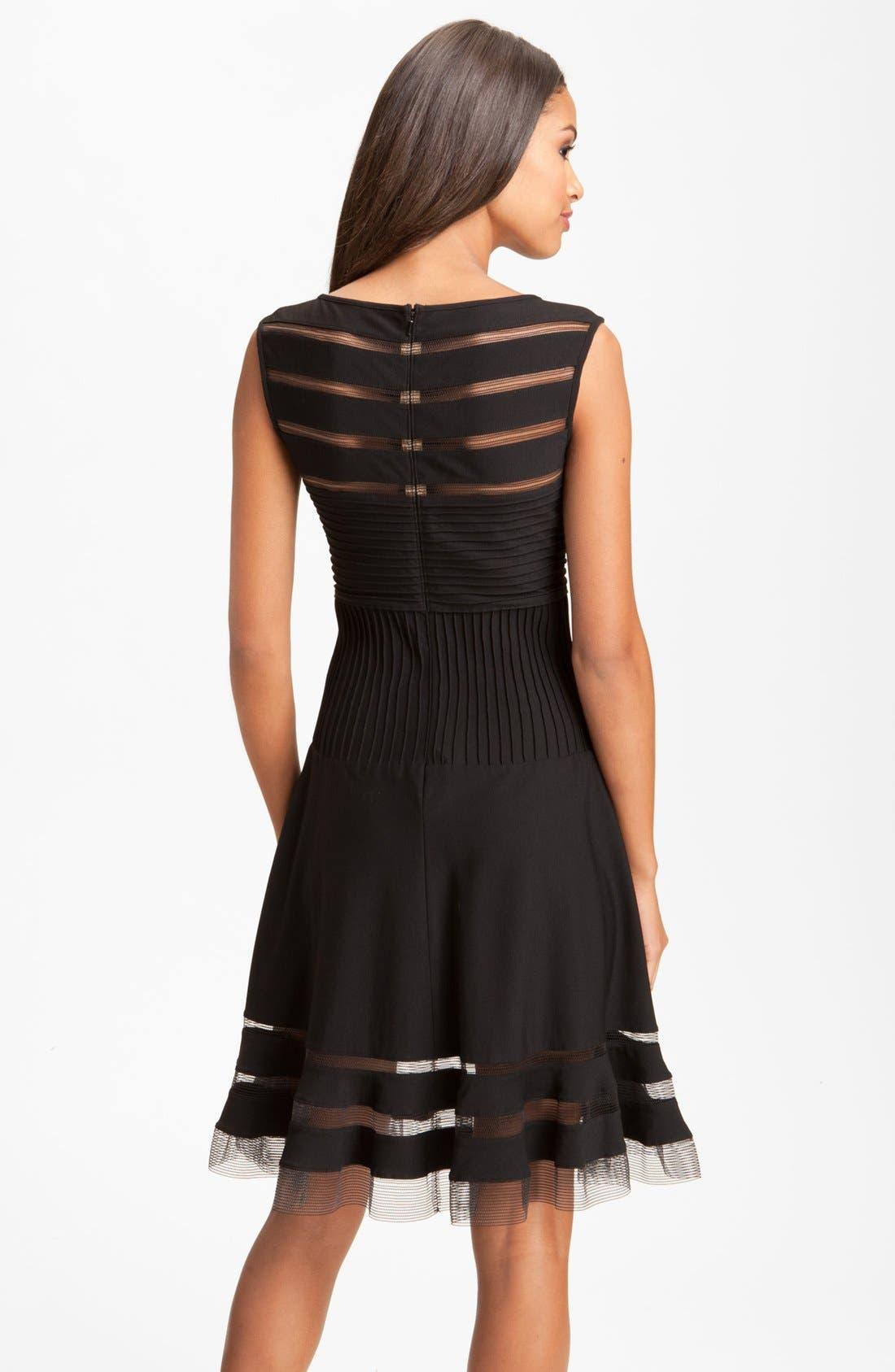 Sleeveless Mesh Stripe Jersey Dress,                             Alternate thumbnail 2, color,                             001