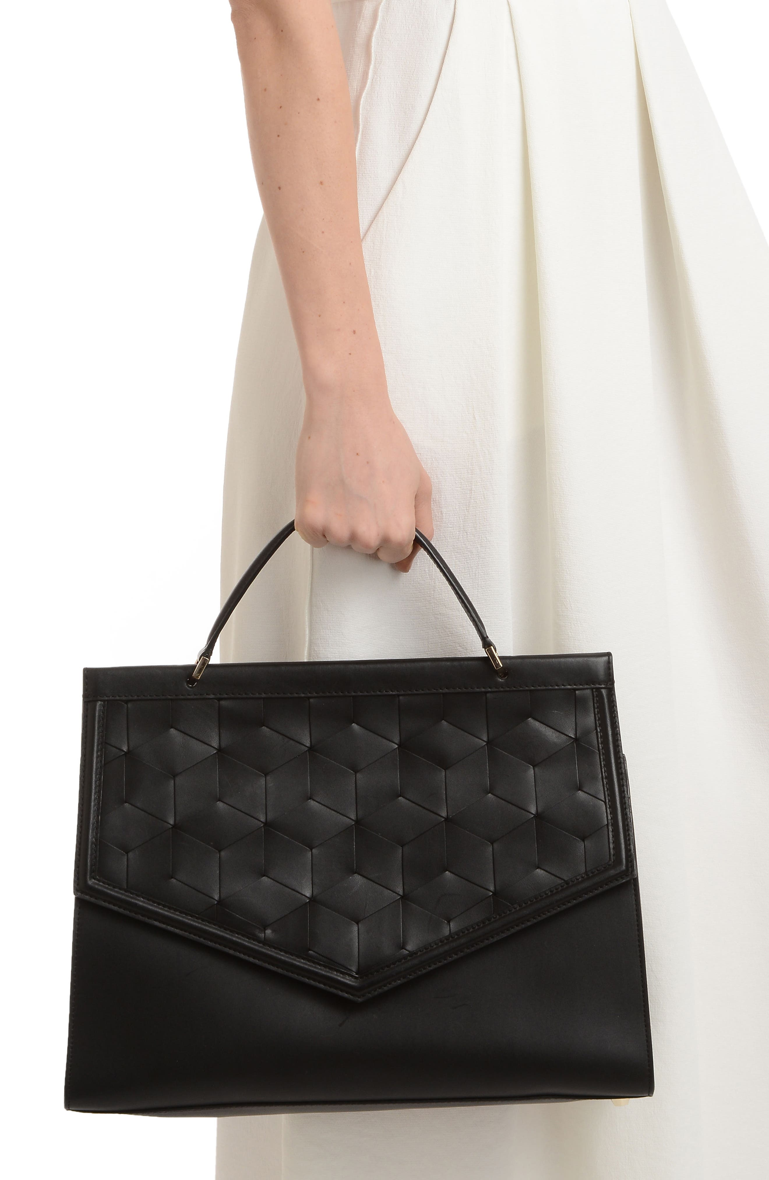 Wayfare Calfskin Leather Top Handle Satchel,                             Alternate thumbnail 2, color,                             BLACK