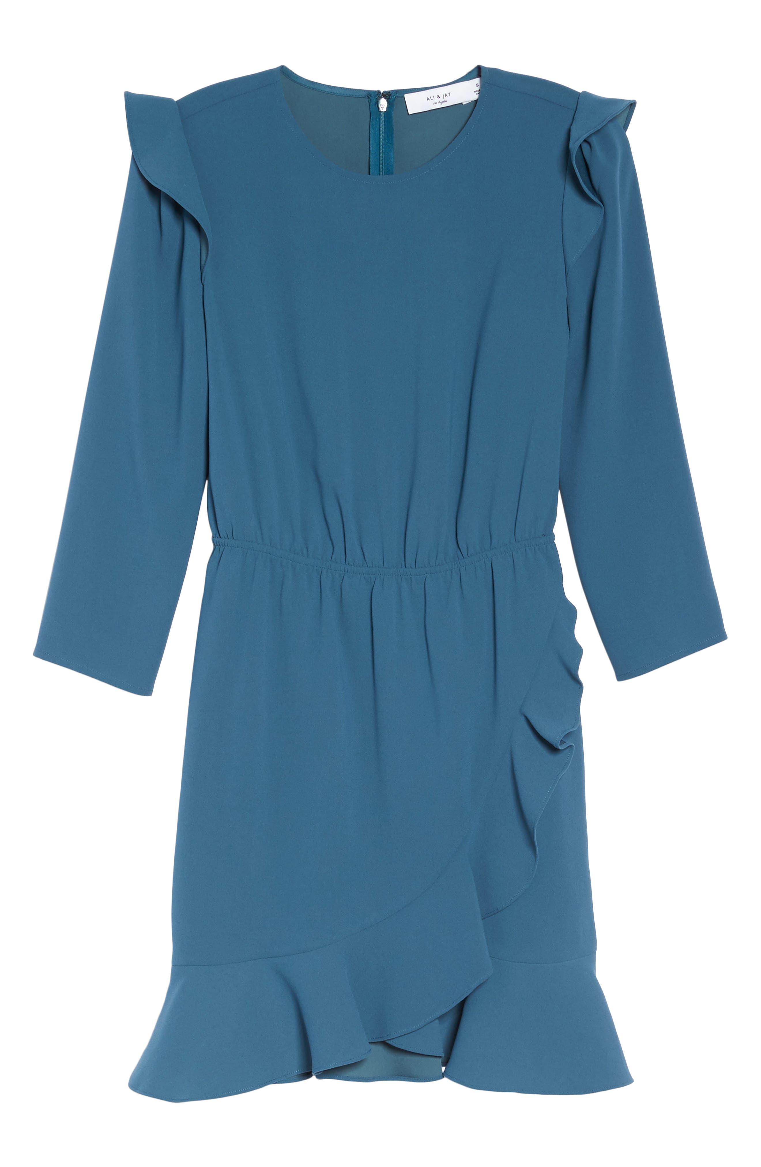 St Germain Ruffle Fit & Flare Dress,                             Alternate thumbnail 12, color,