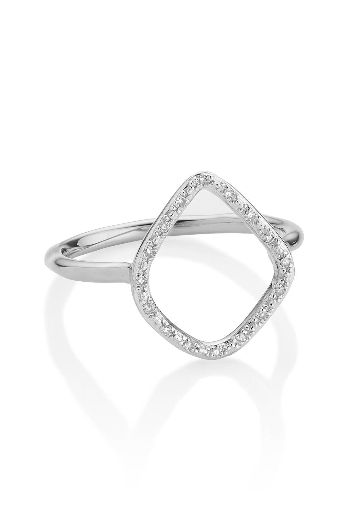 'Riva' Diamond Hoop Ring,                             Alternate thumbnail 2, color,                             SILVER