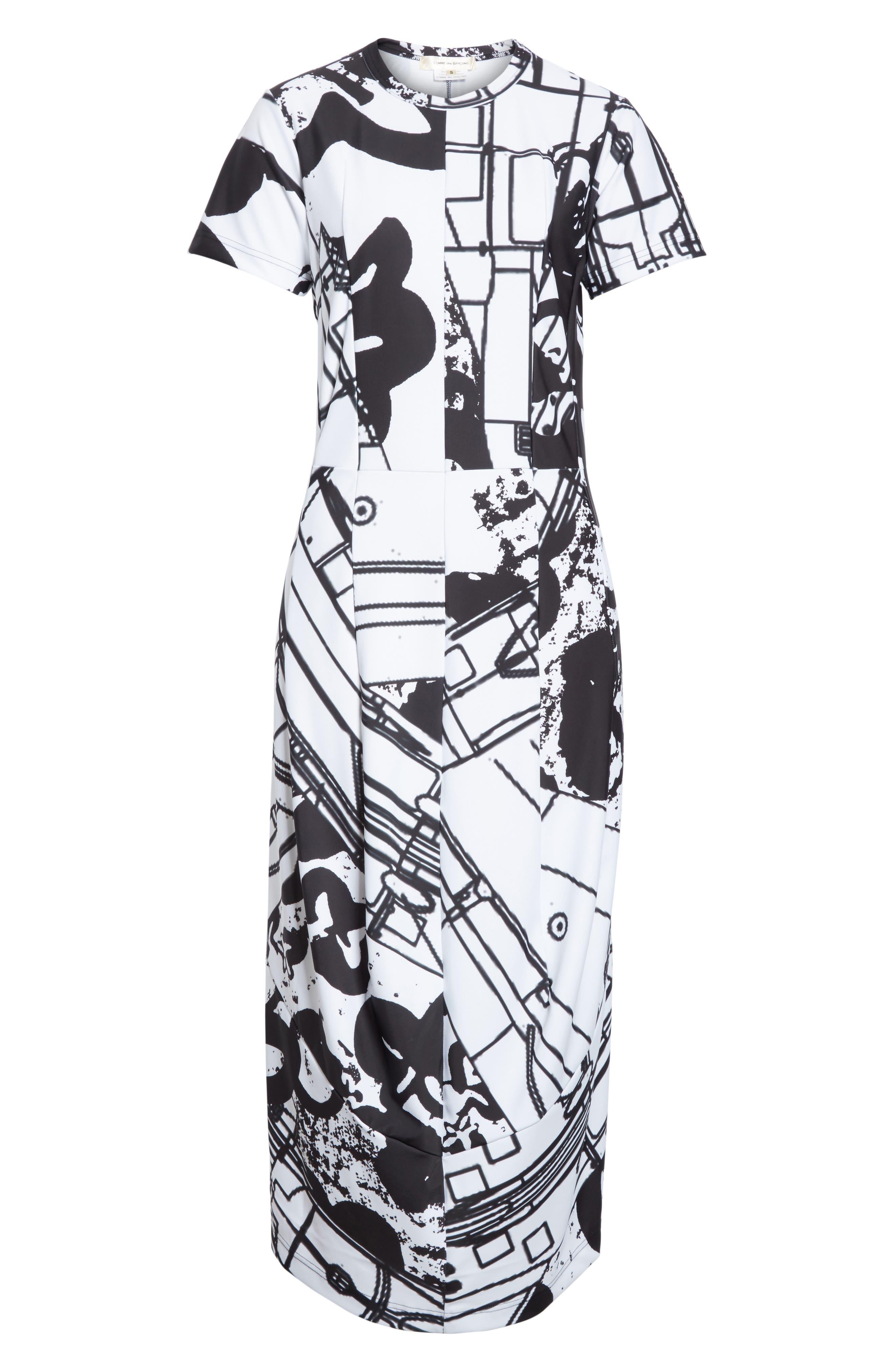 Graffiti Print T-Shirt Dress,                             Alternate thumbnail 6, color,                             100