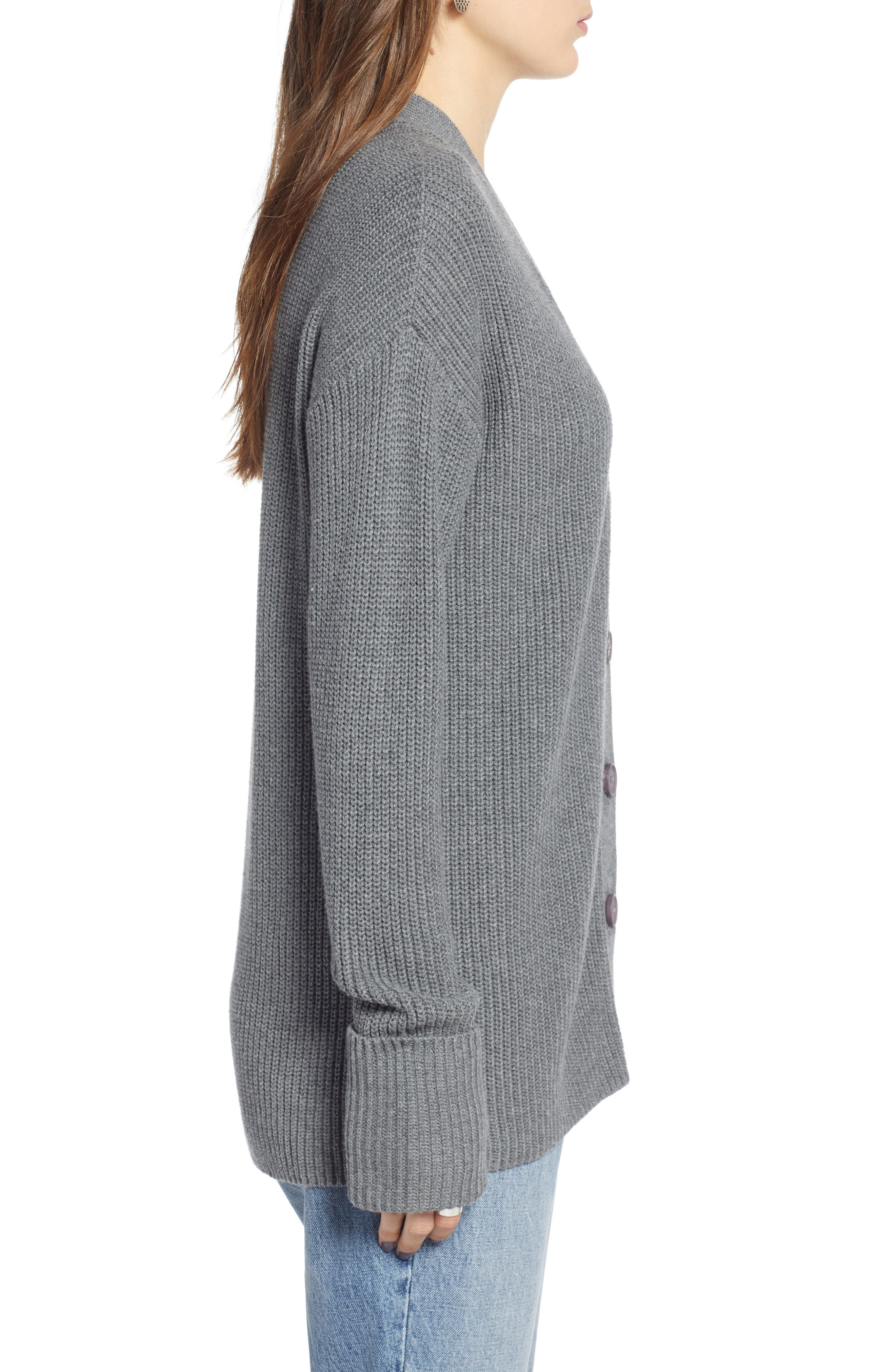 Ribbed Cardigan Sweater,                             Alternate thumbnail 3, color,                             GREY DARK HEATHER