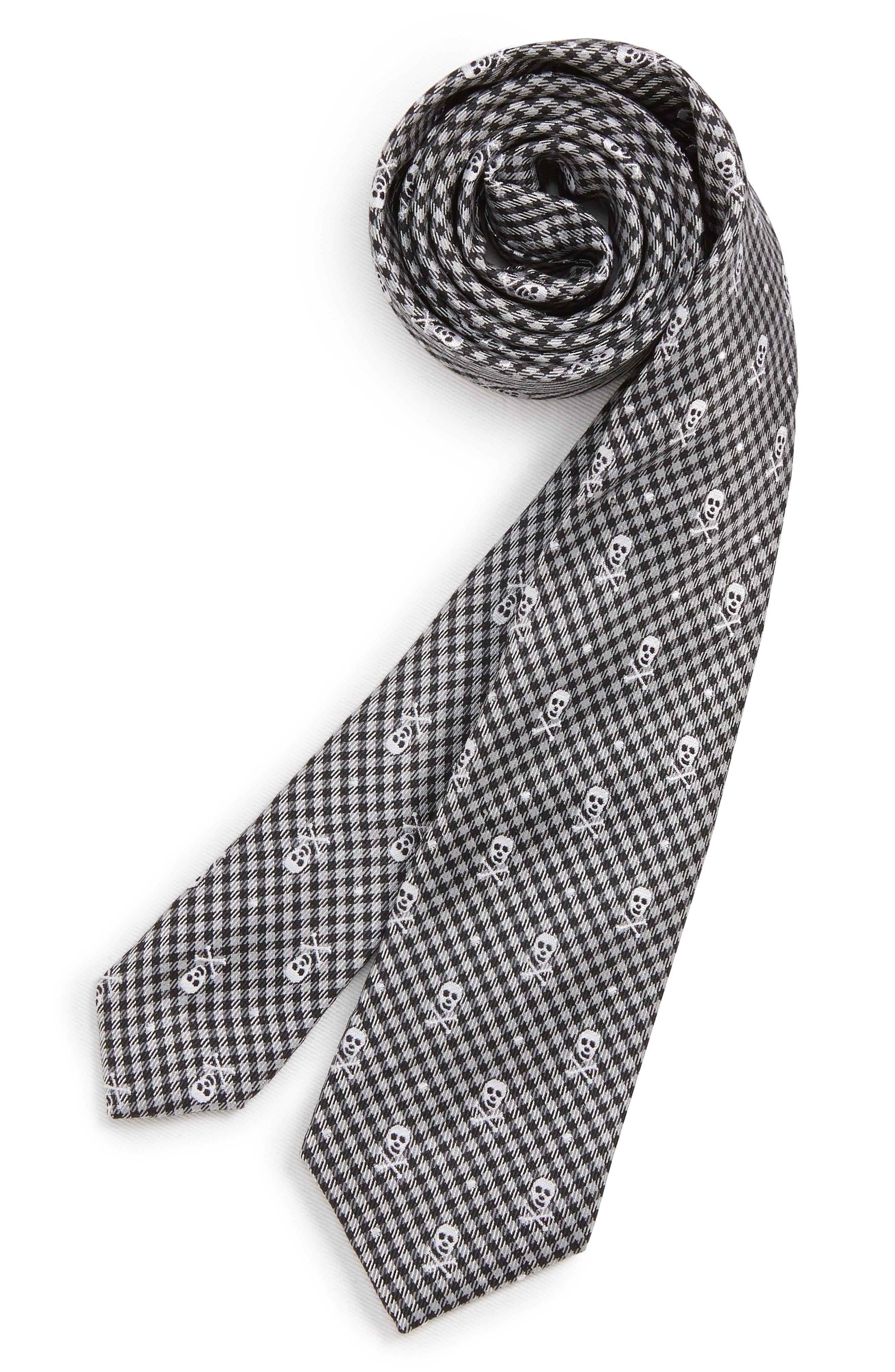 Skull Silk Tie,                             Main thumbnail 1, color,                             GREY