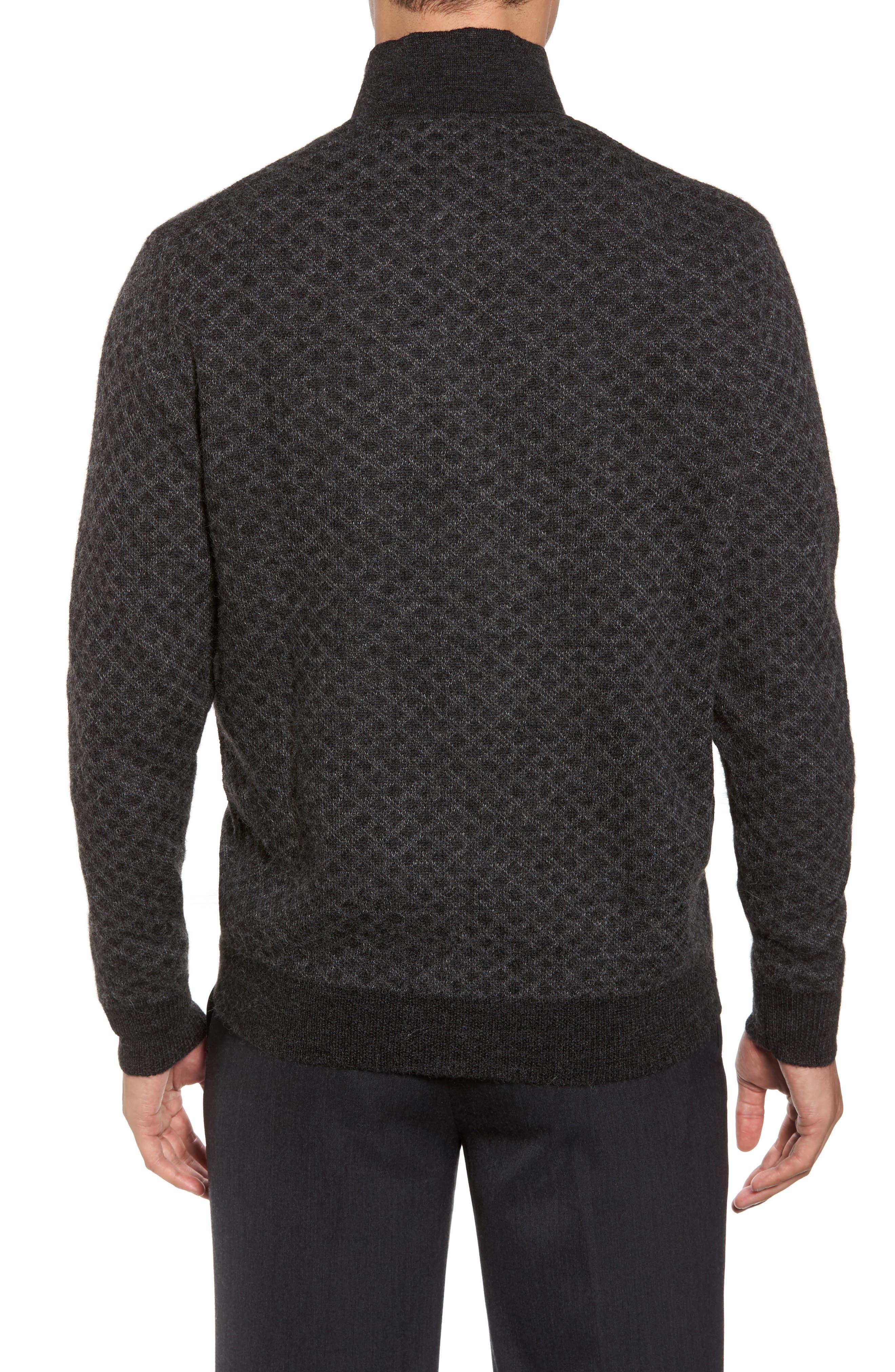 Diamond Quarter Zip Alpaca Sweater,                             Alternate thumbnail 3, color,