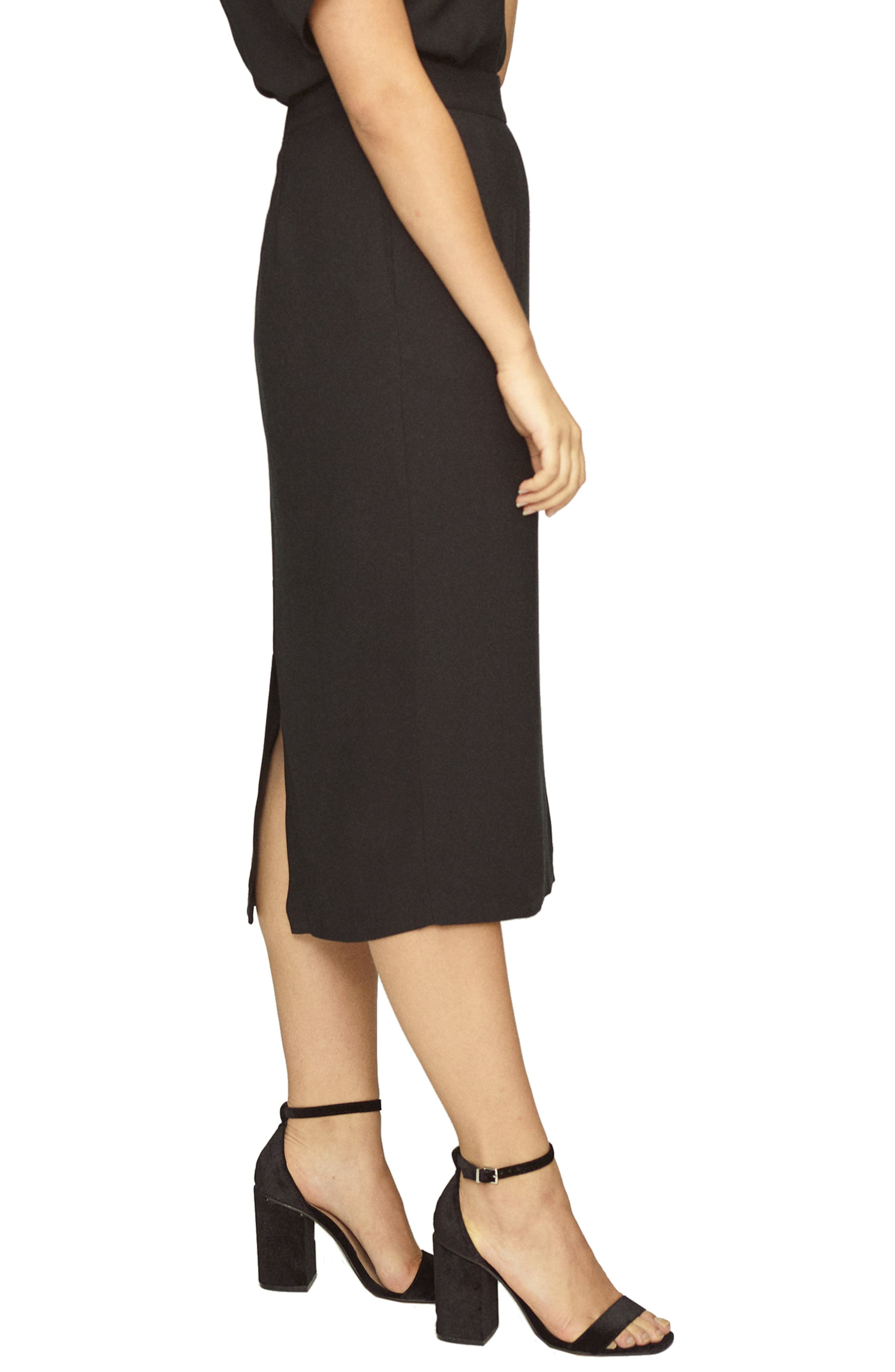 Twill Pencil Skirt,                             Alternate thumbnail 3, color,                             BLACK
