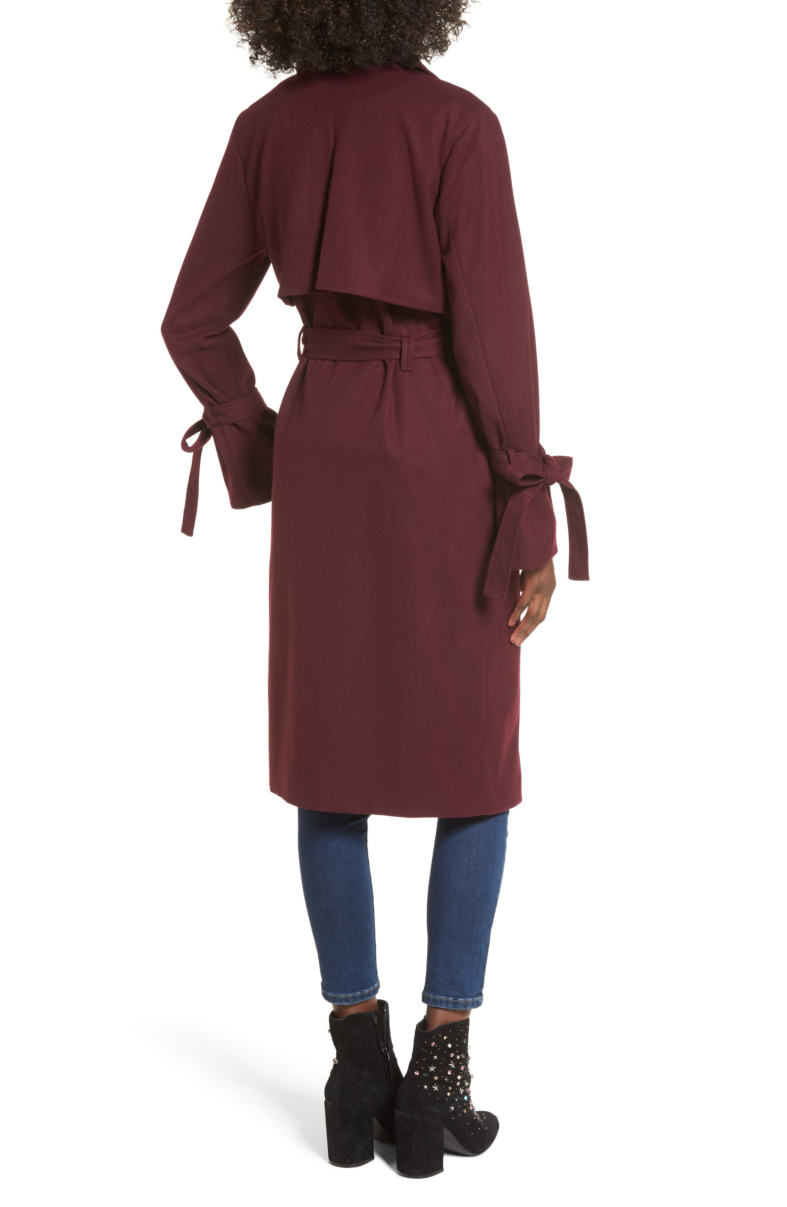 Tie Sleeve Trench Coat,                             Alternate thumbnail 2, color,