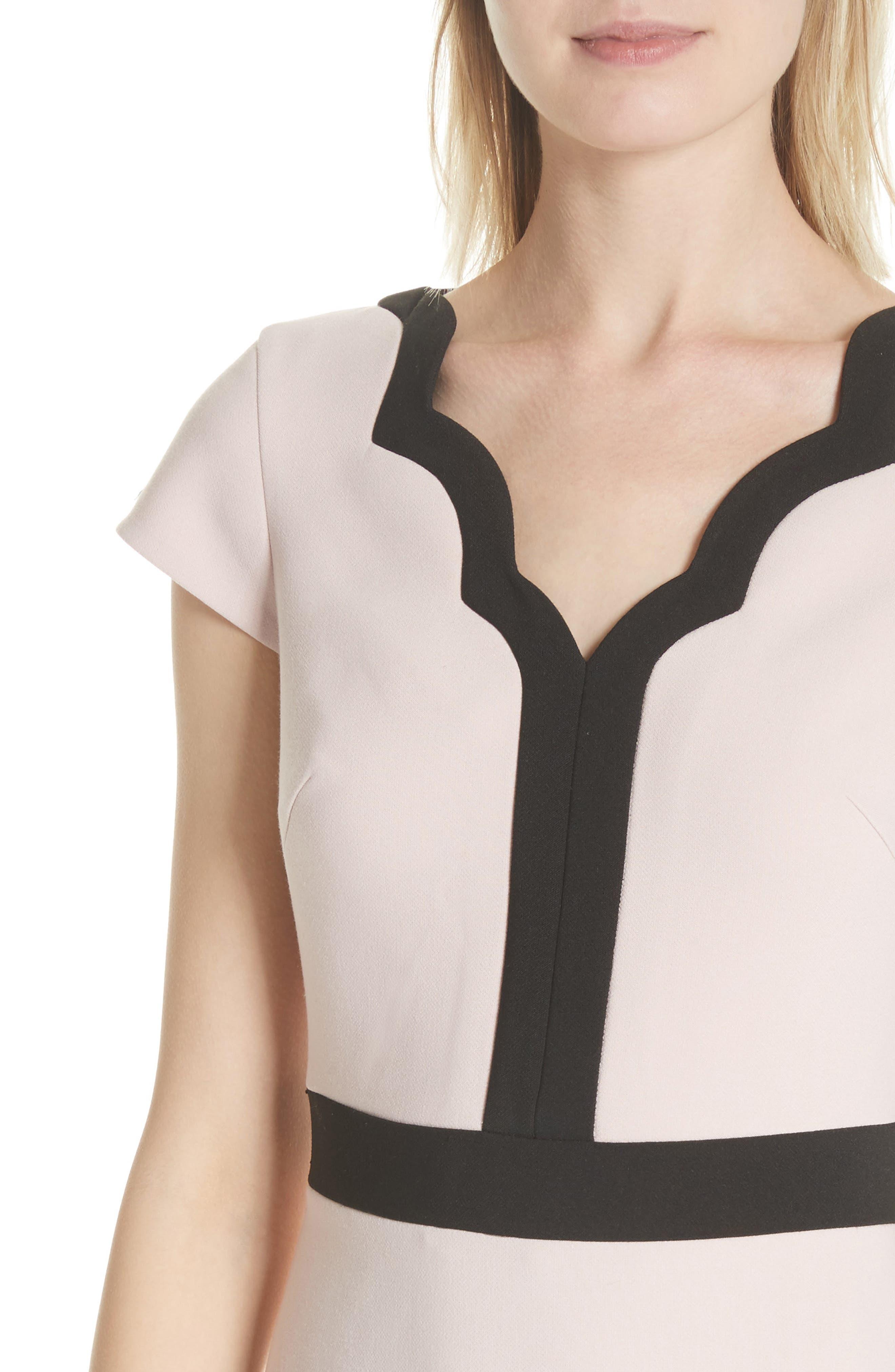 scallop cap sleeve dress,                             Alternate thumbnail 4, color,                             663
