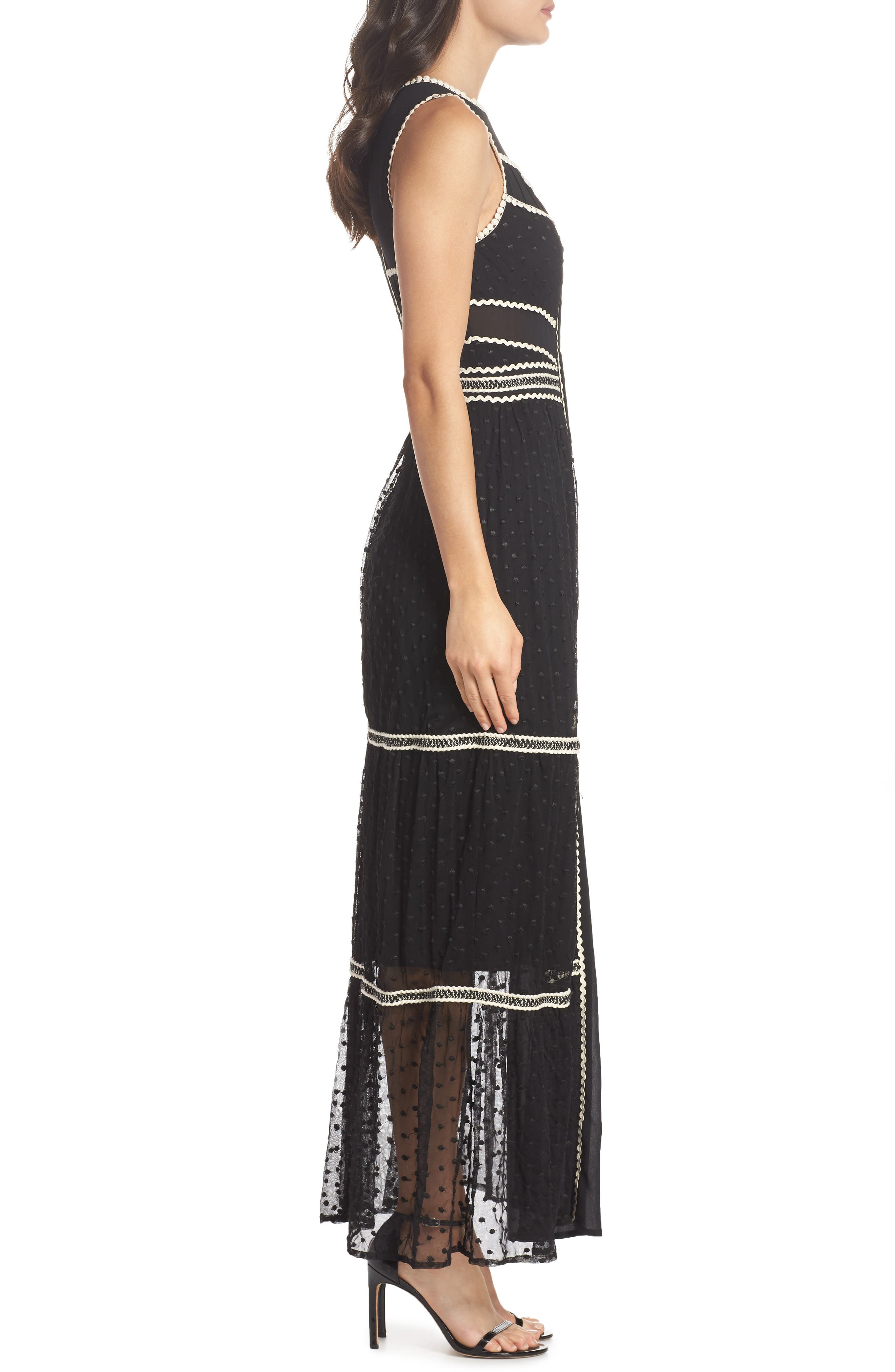 Embroidered Dot Gown,                             Alternate thumbnail 3, color,                             BLACK/ IVORY