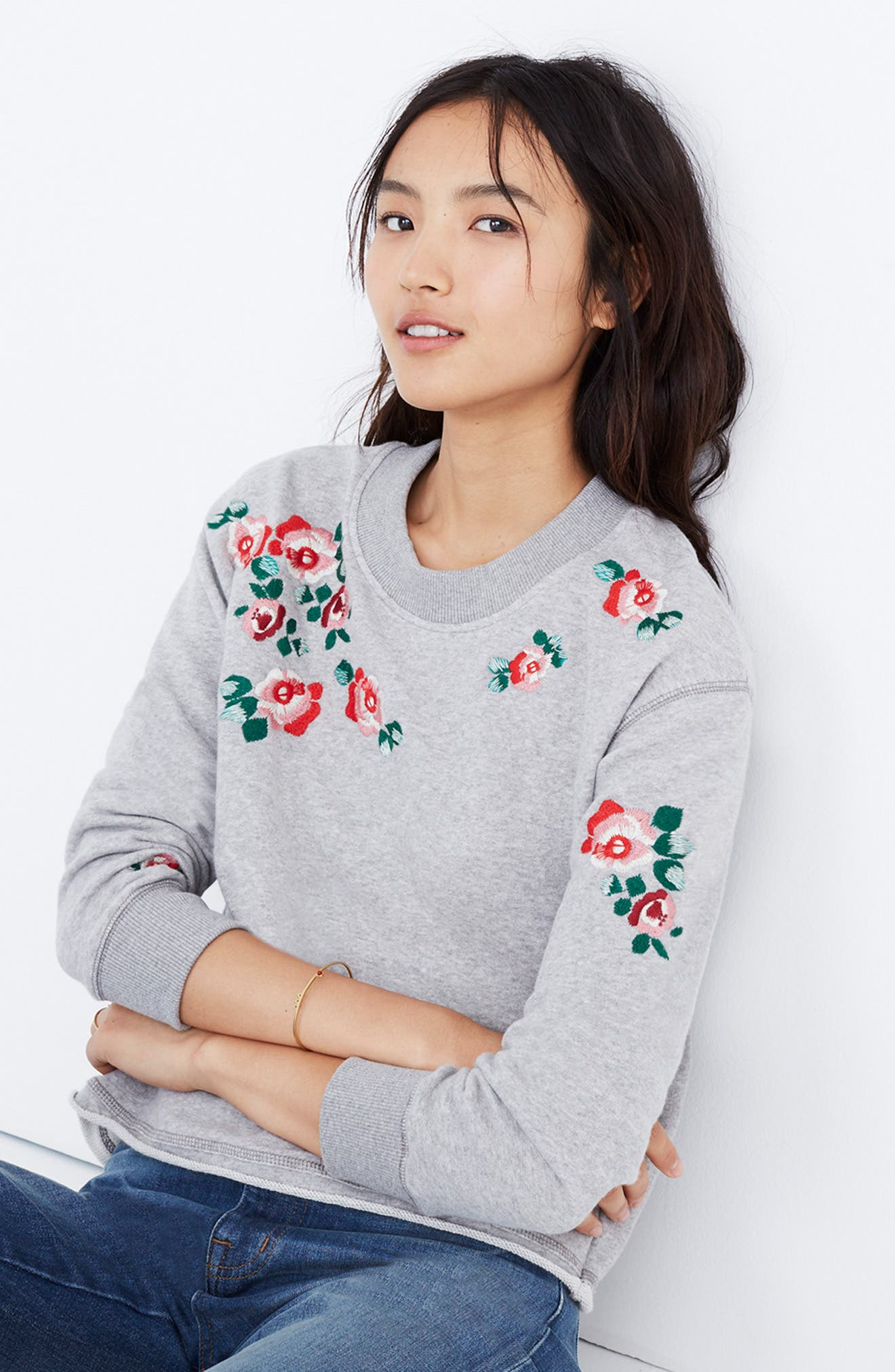 Embroidered Crop Sweatshirt,                             Alternate thumbnail 4, color,                             020