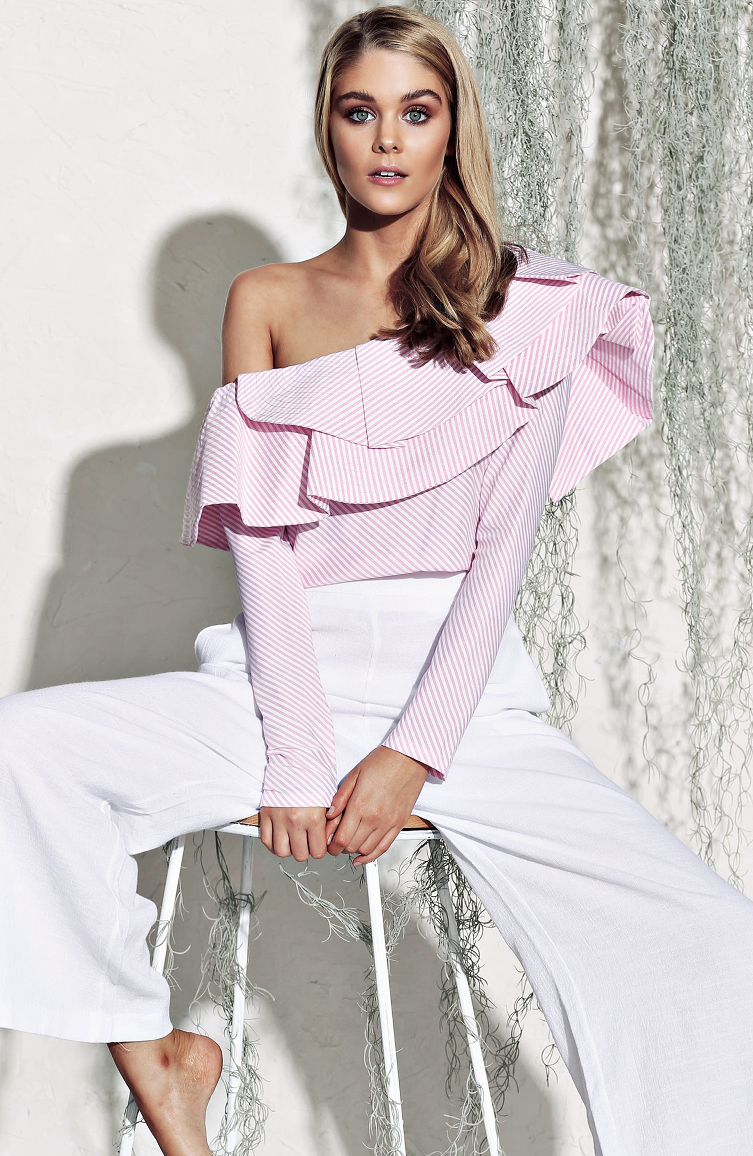 Think Fashion One-Shoulder Top,                             Alternate thumbnail 8, color,