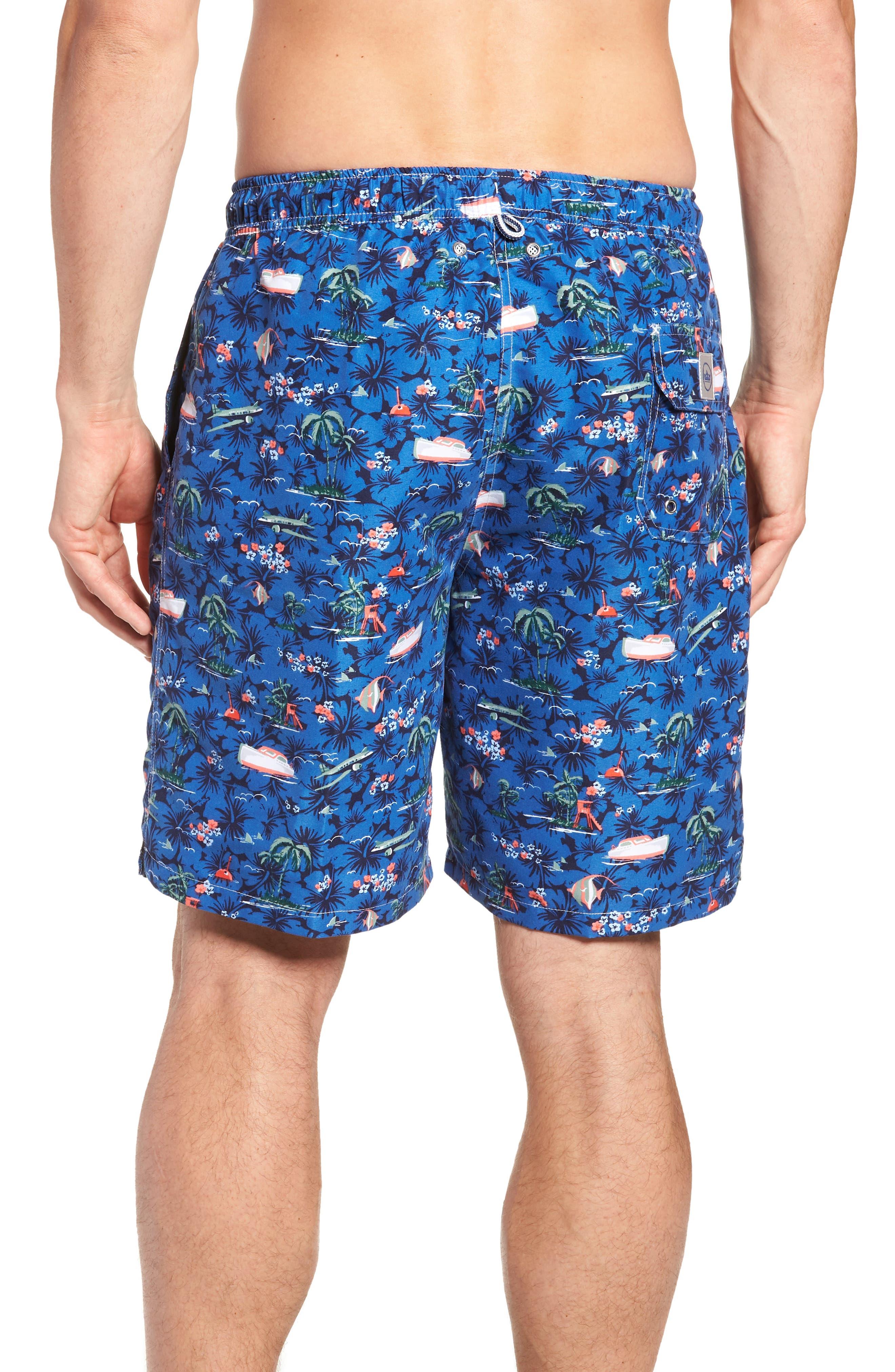 Hawaiian Express Swim Trunks,                             Alternate thumbnail 2, color,                             BLUE