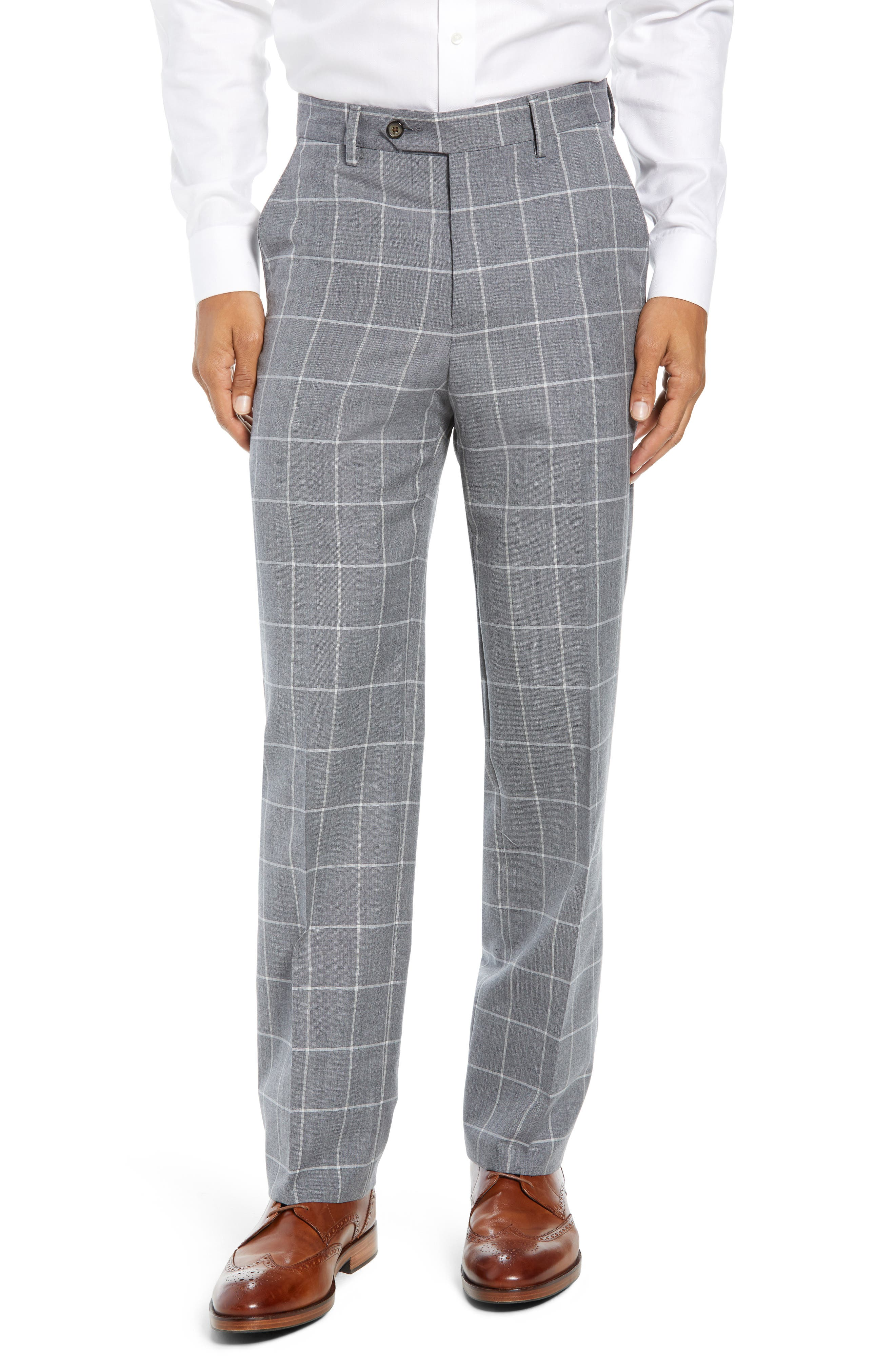 Manufacturing Flat Front Windowpane Wool Trousers,                             Main thumbnail 1, color,                             101